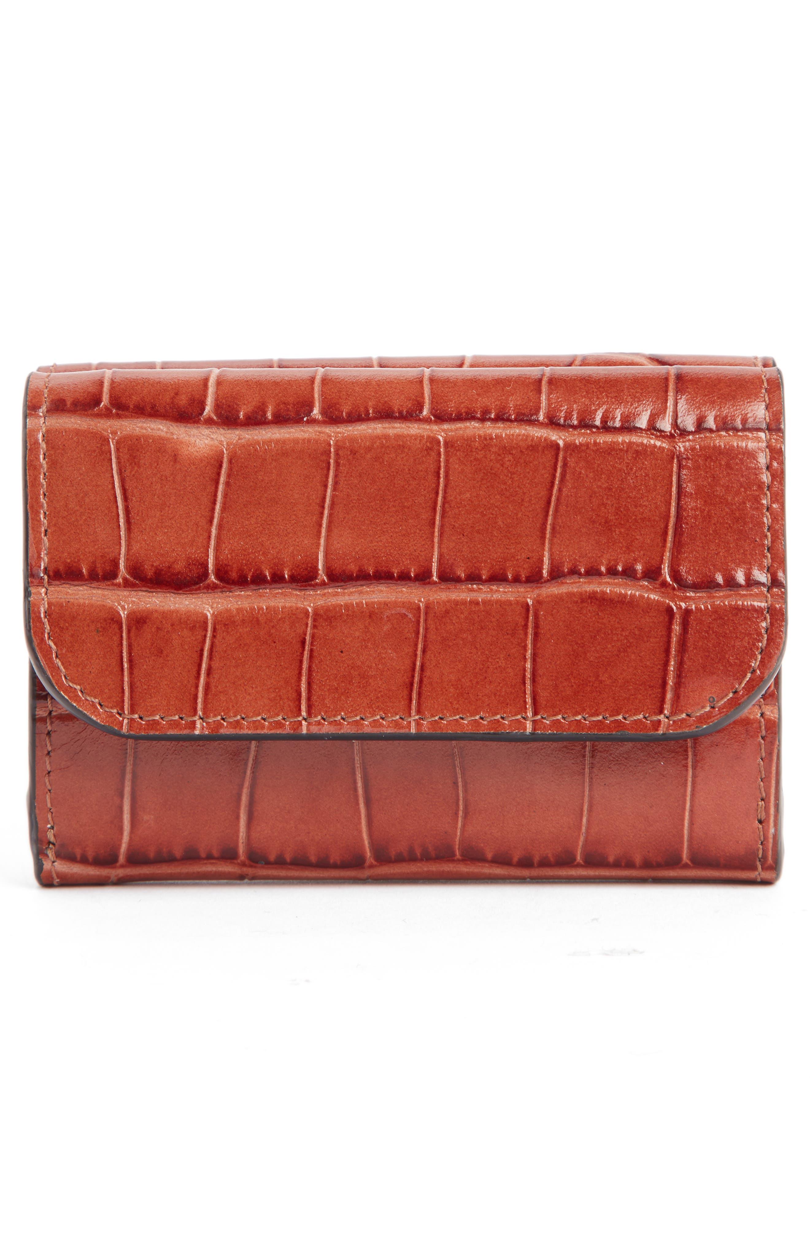 CHLOÉ,                             Mini-C Croc Embossed Leather Wallet,                             Alternate thumbnail 3, color,                             CHESTNUT BROWN