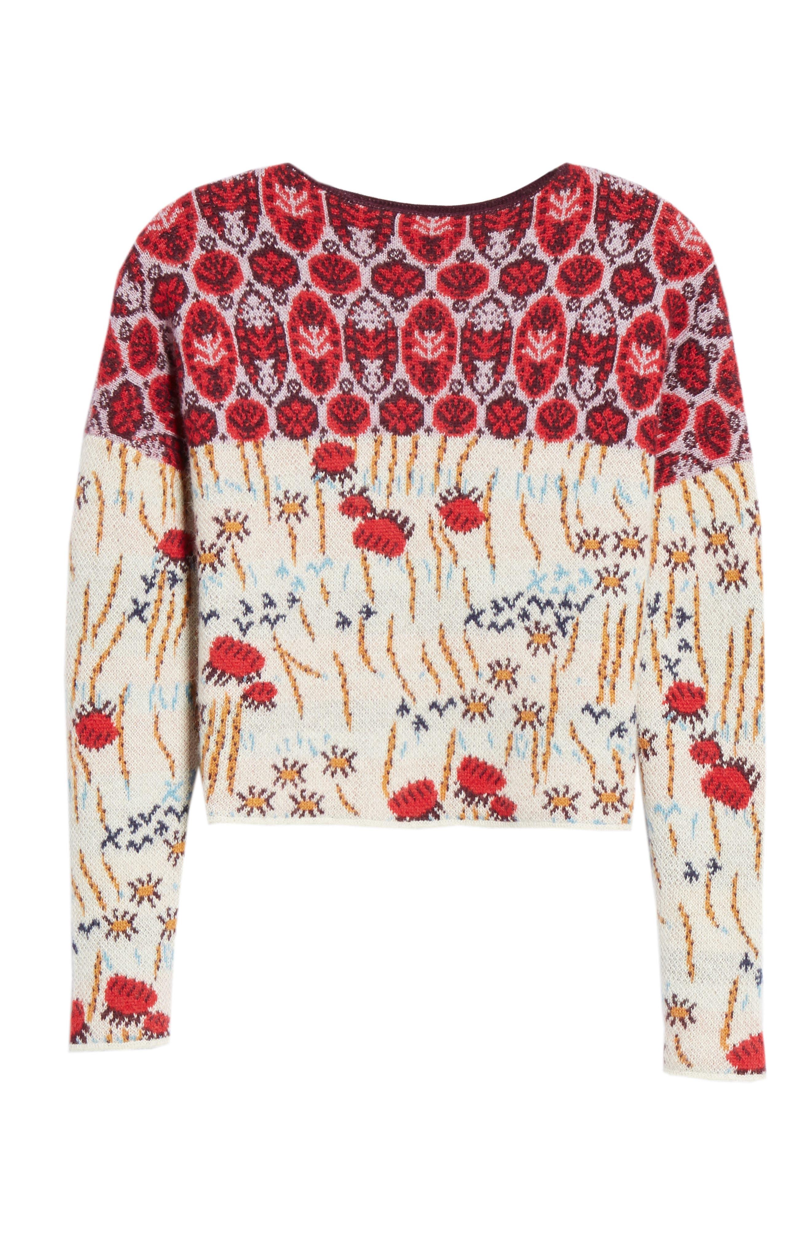 Adieu Jacquard Alpaca Sweater,                             Alternate thumbnail 6, color,                             WHITE