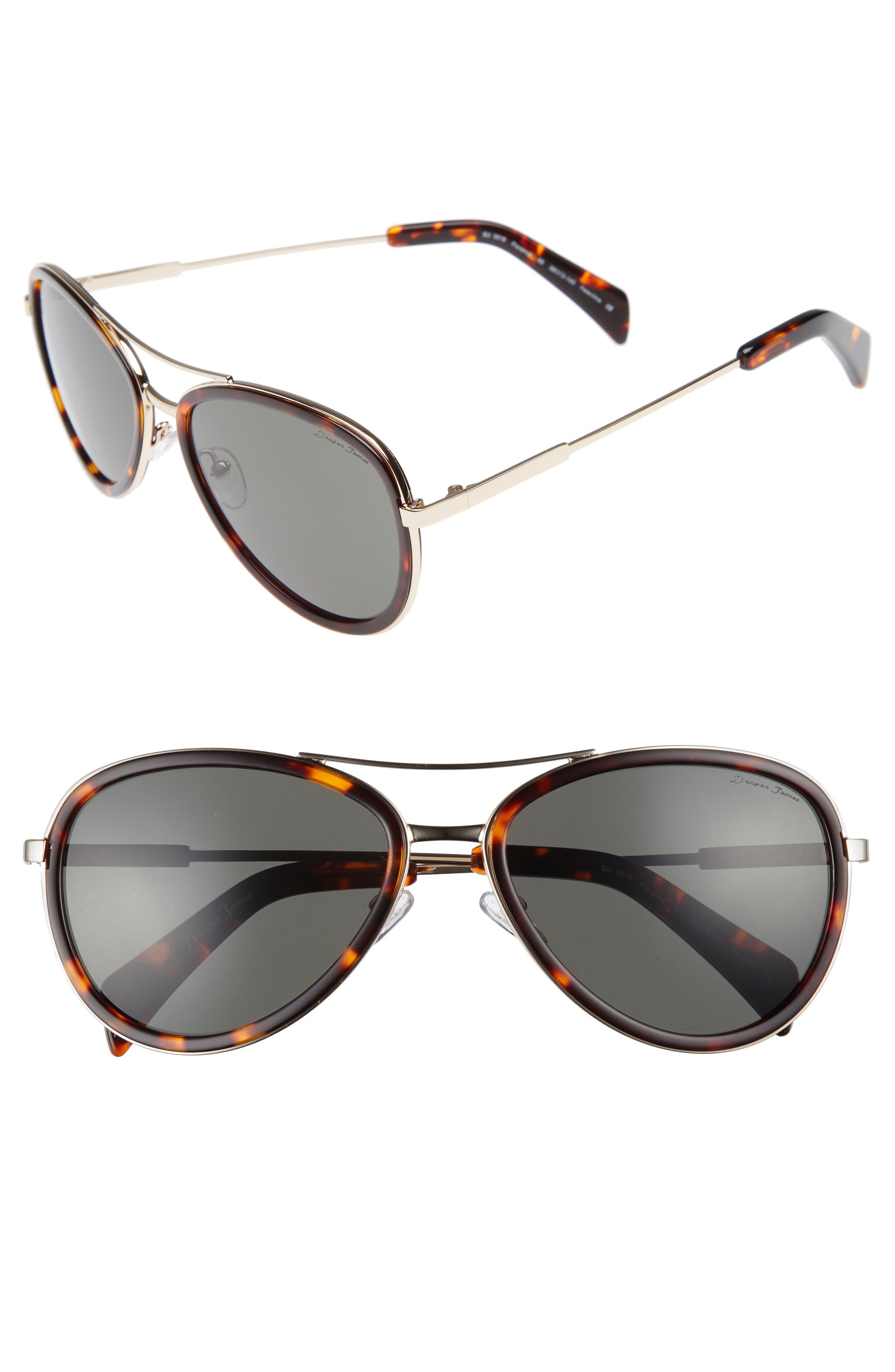 58mm Aviator Sunglasses,                         Main,                         color, GOLD