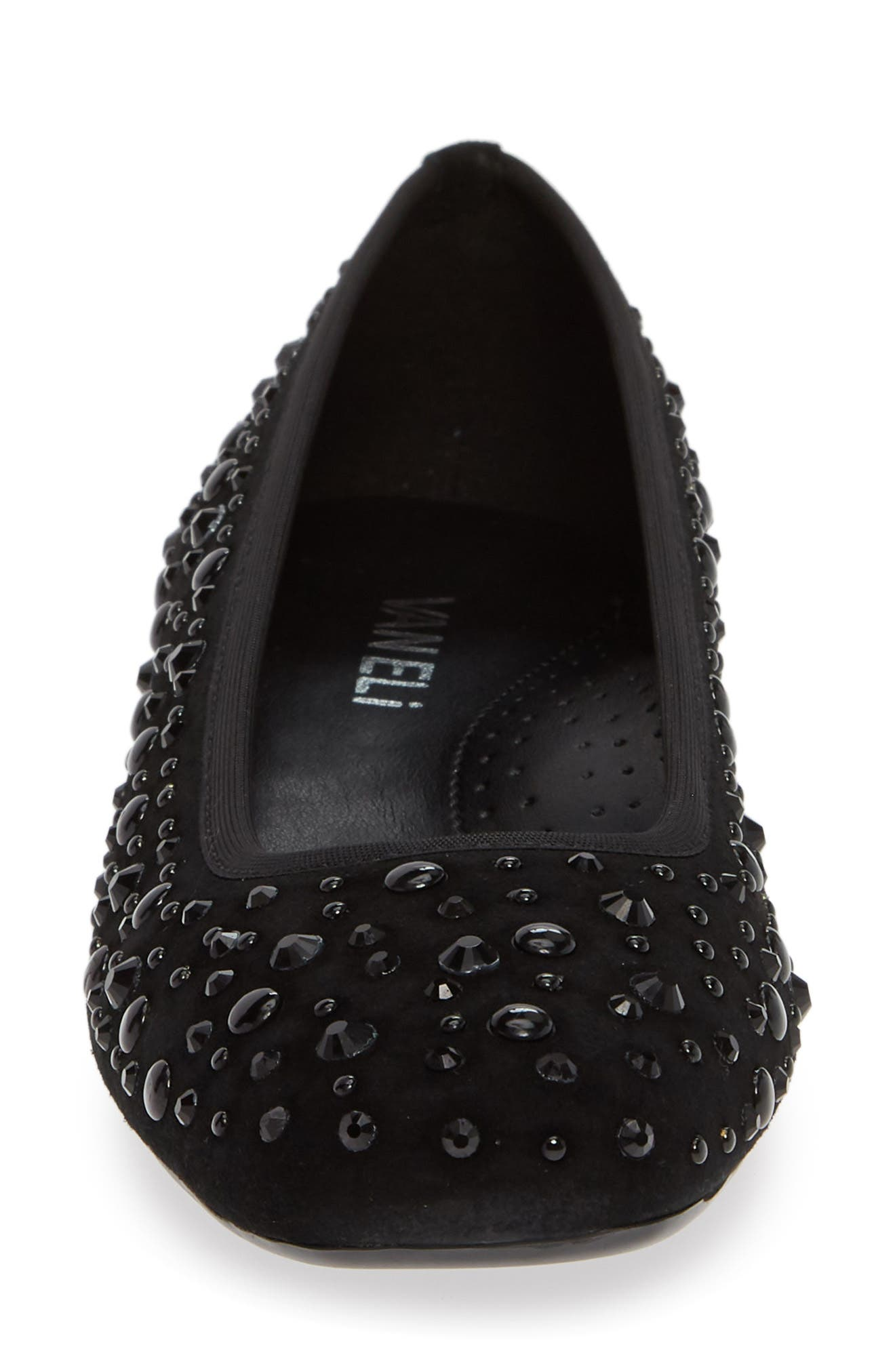 Nayeli Studded Skimmer Flat,                             Alternate thumbnail 4, color,                             BLACK SUEDE