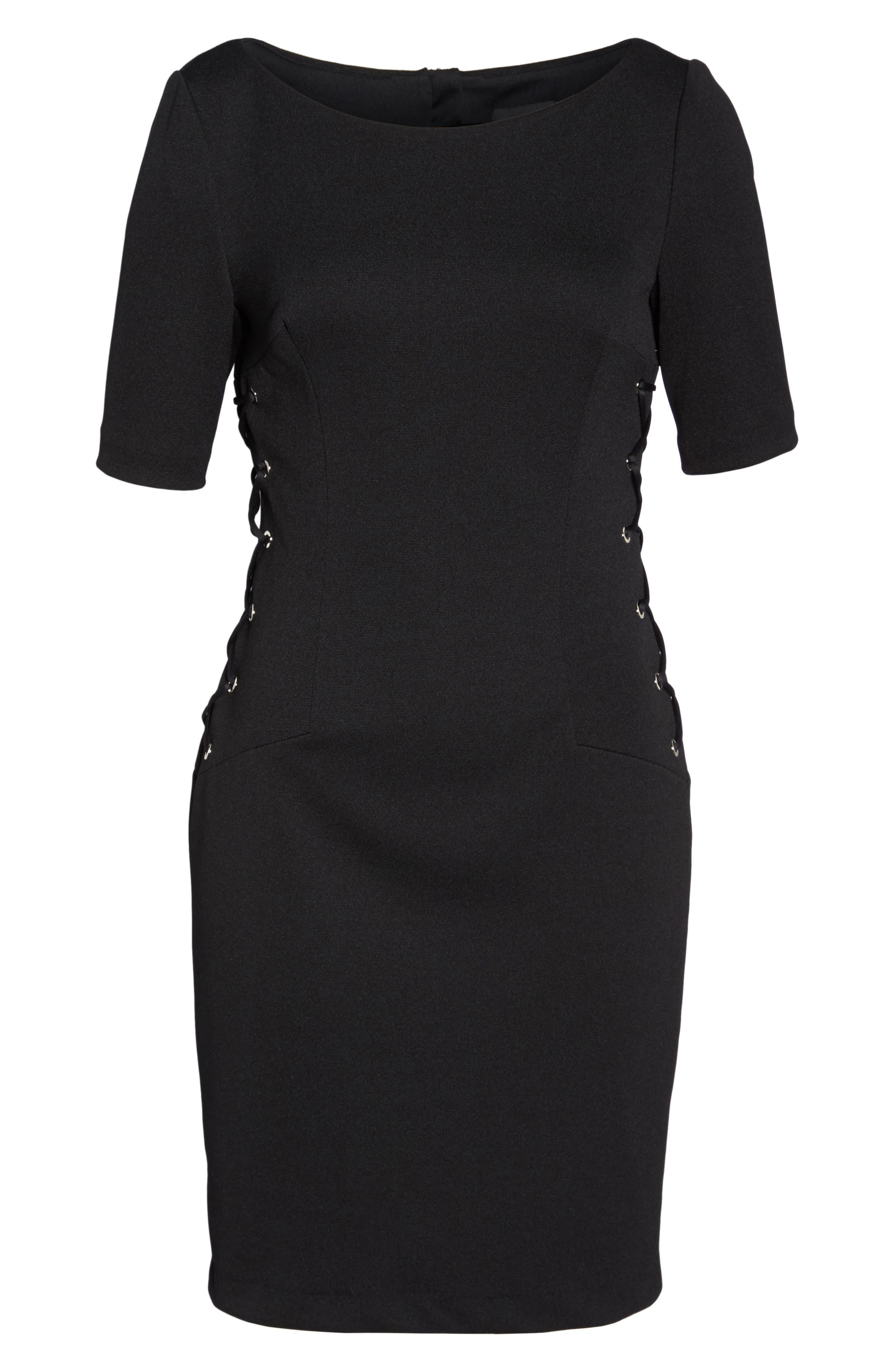 Micro Ottoman Lace-Up Sheath Dress,                             Alternate thumbnail 6, color,                             001