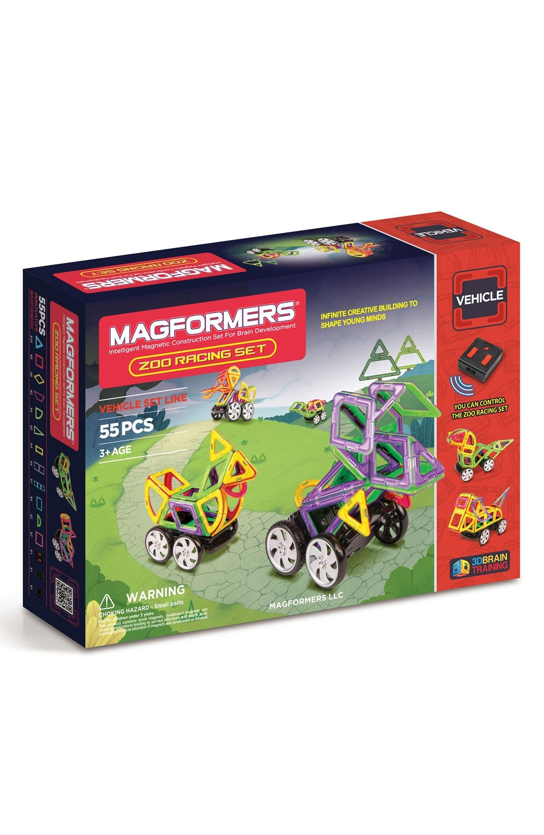 'Zoo Racing' Magnetic Remote Control Vehicle Construction Set,                             Main thumbnail 1, color,                             Rainbow