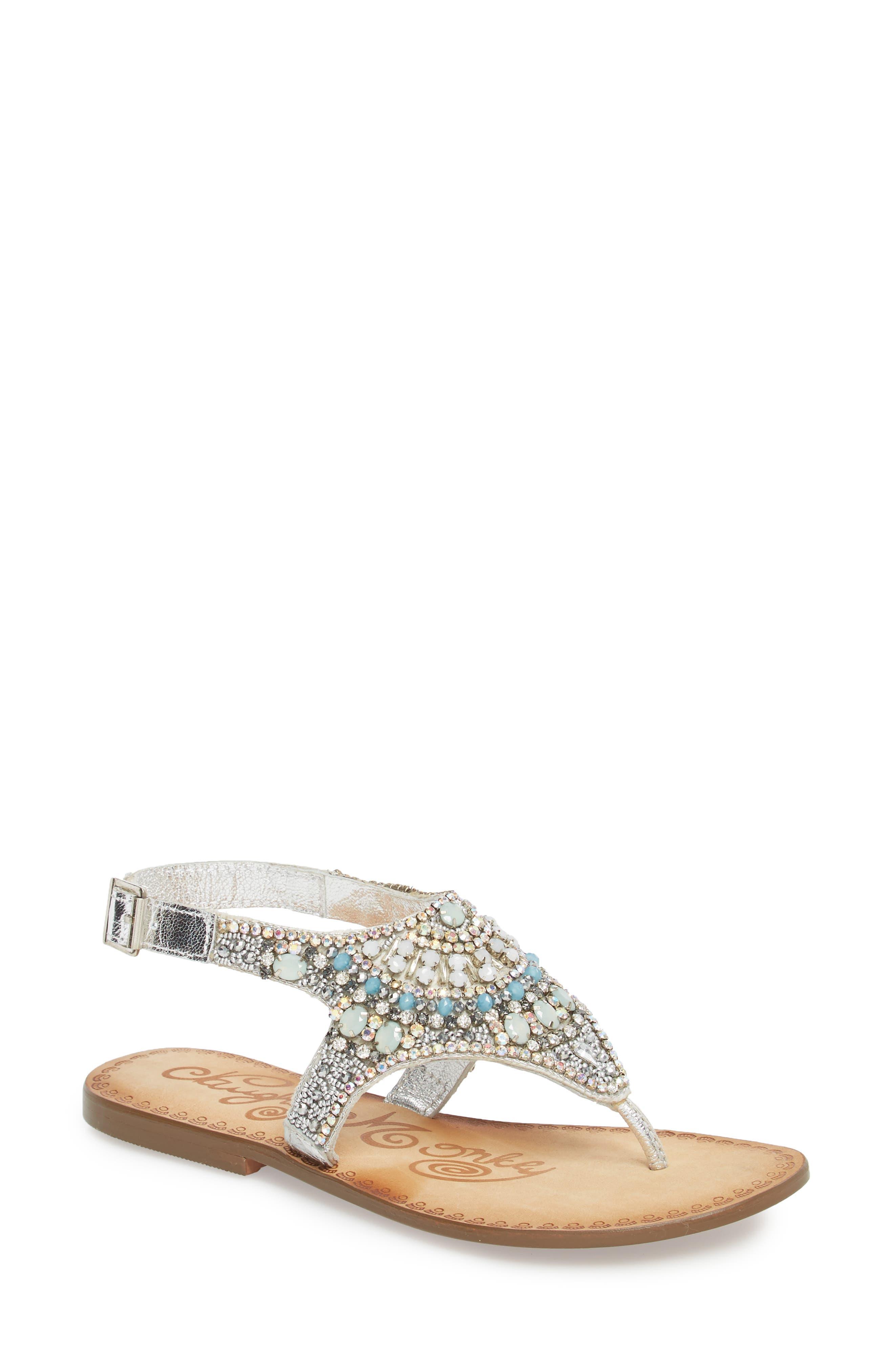 Iceberg Crystal Embellished Sandal,                             Main thumbnail 1, color,                             040