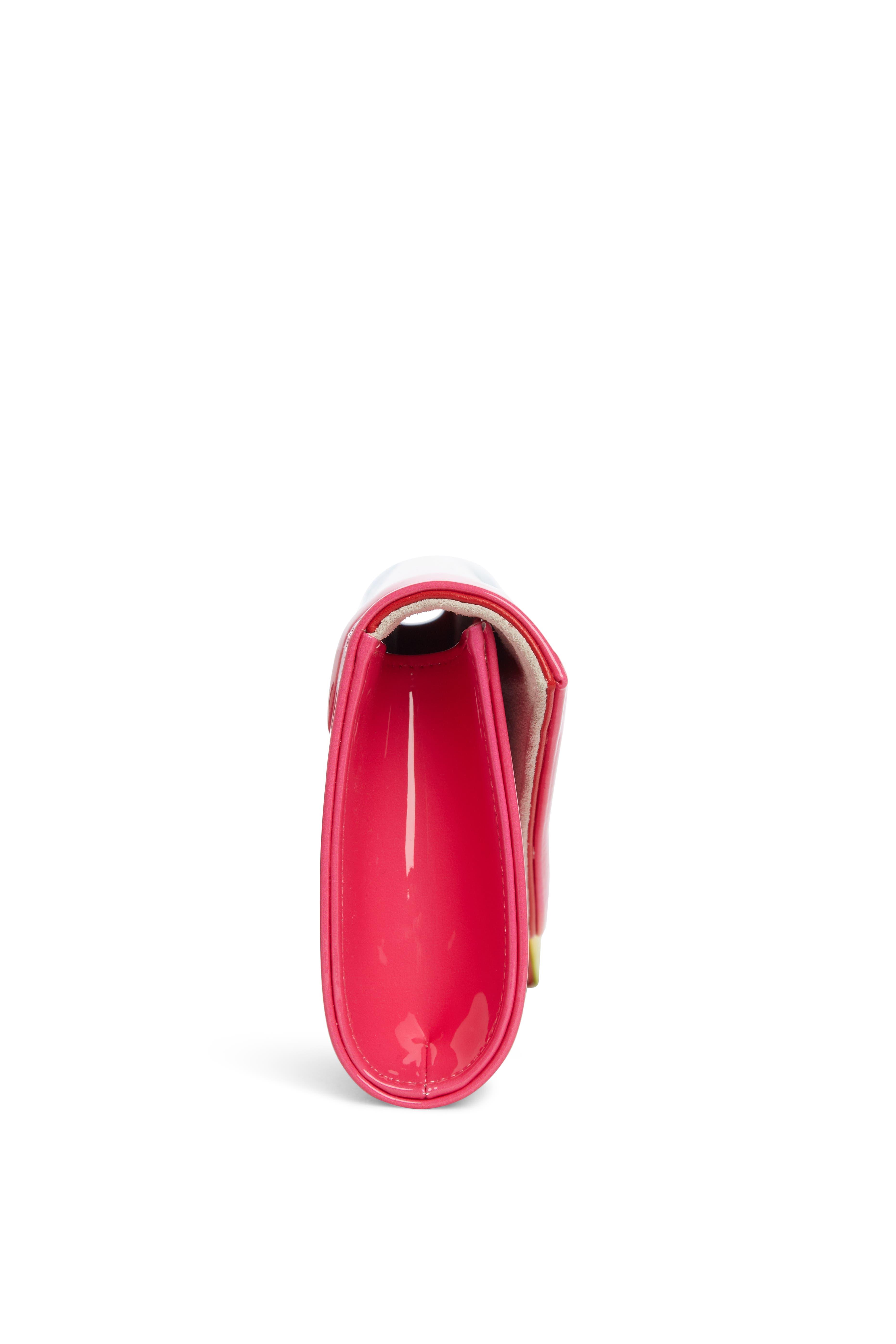 So Kate Rainbow Ombré Patent Leather Clutch,                             Alternate thumbnail 4, color,                             PINK MULTI