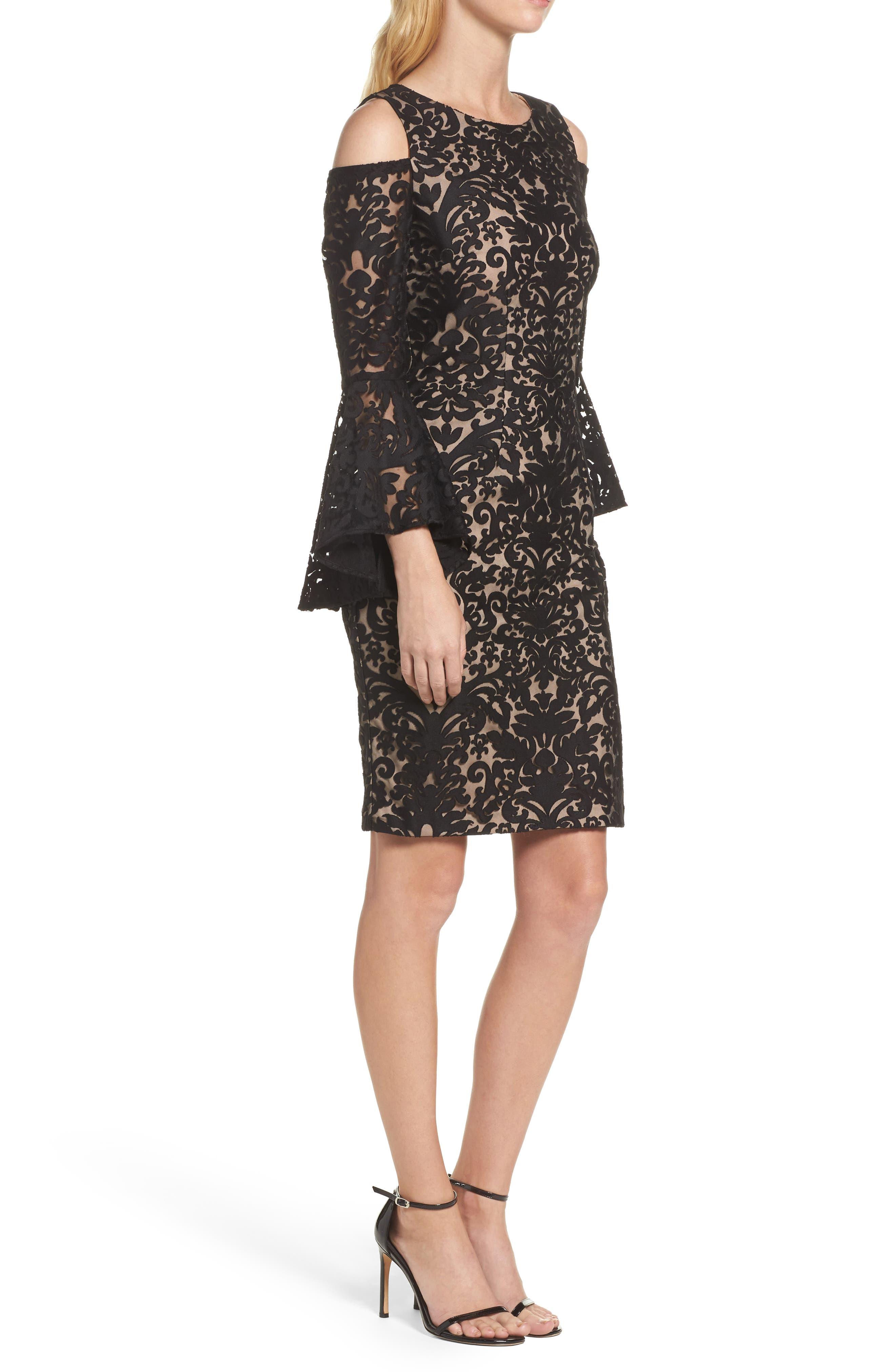 Flocked Cold Shoulder Sheath Dress,                             Alternate thumbnail 3, color,                             009