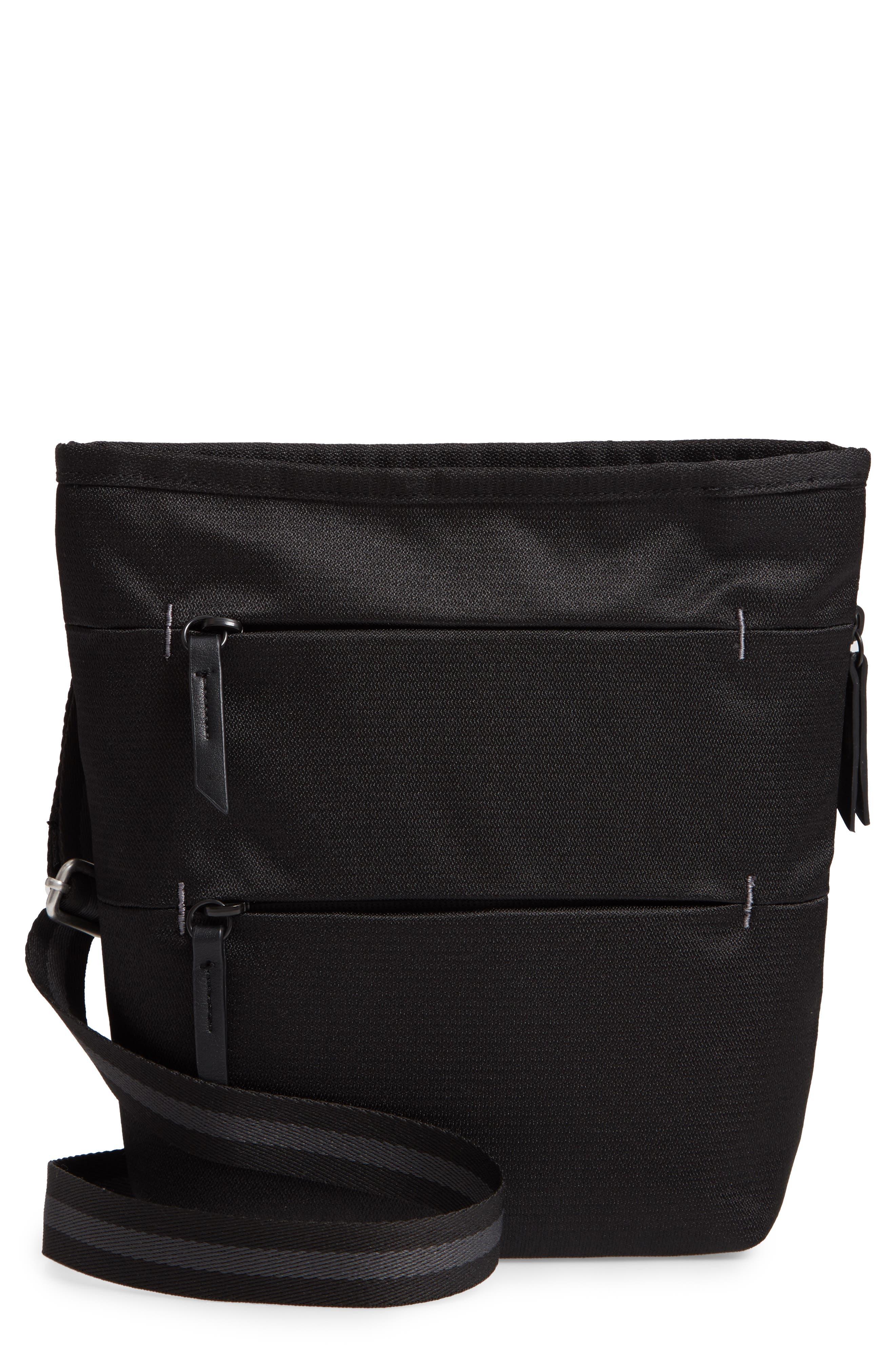 Sadie Medium RFID Crossbody Bag,                             Main thumbnail 1, color,                             BLACK/ BLACK