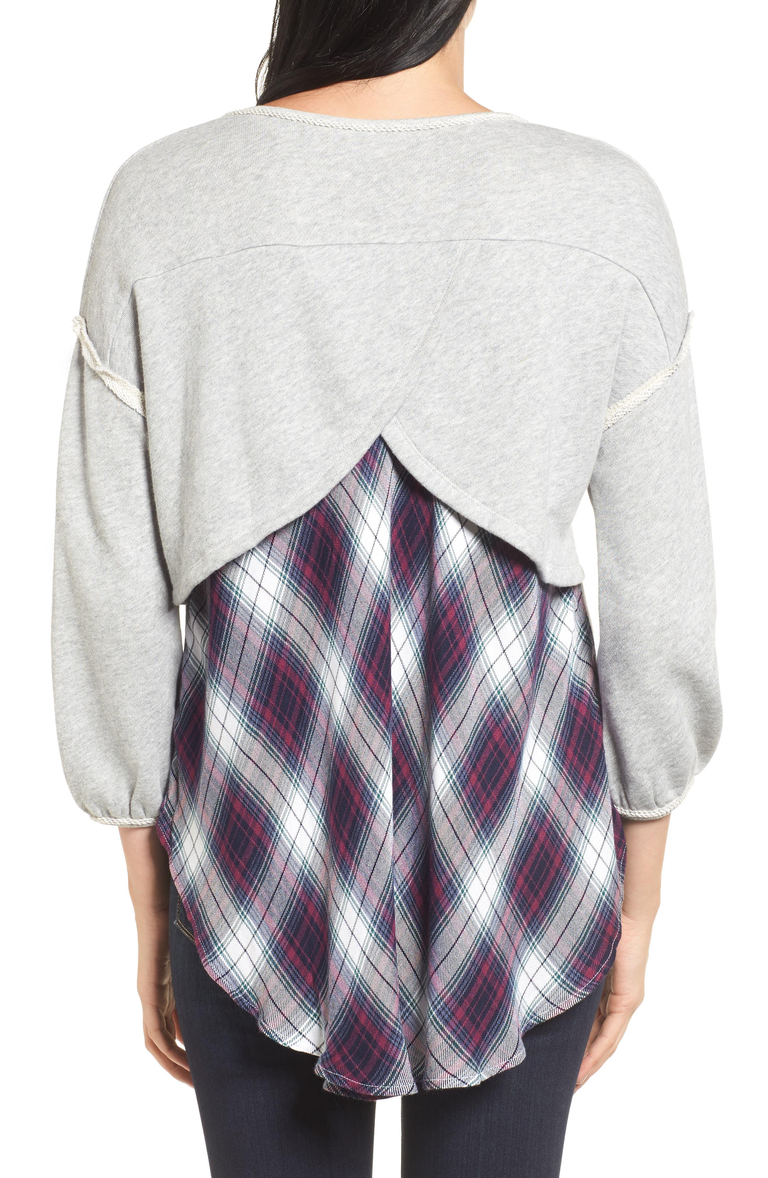Layered Look Sweatshirt,                             Alternate thumbnail 2, color,                             021