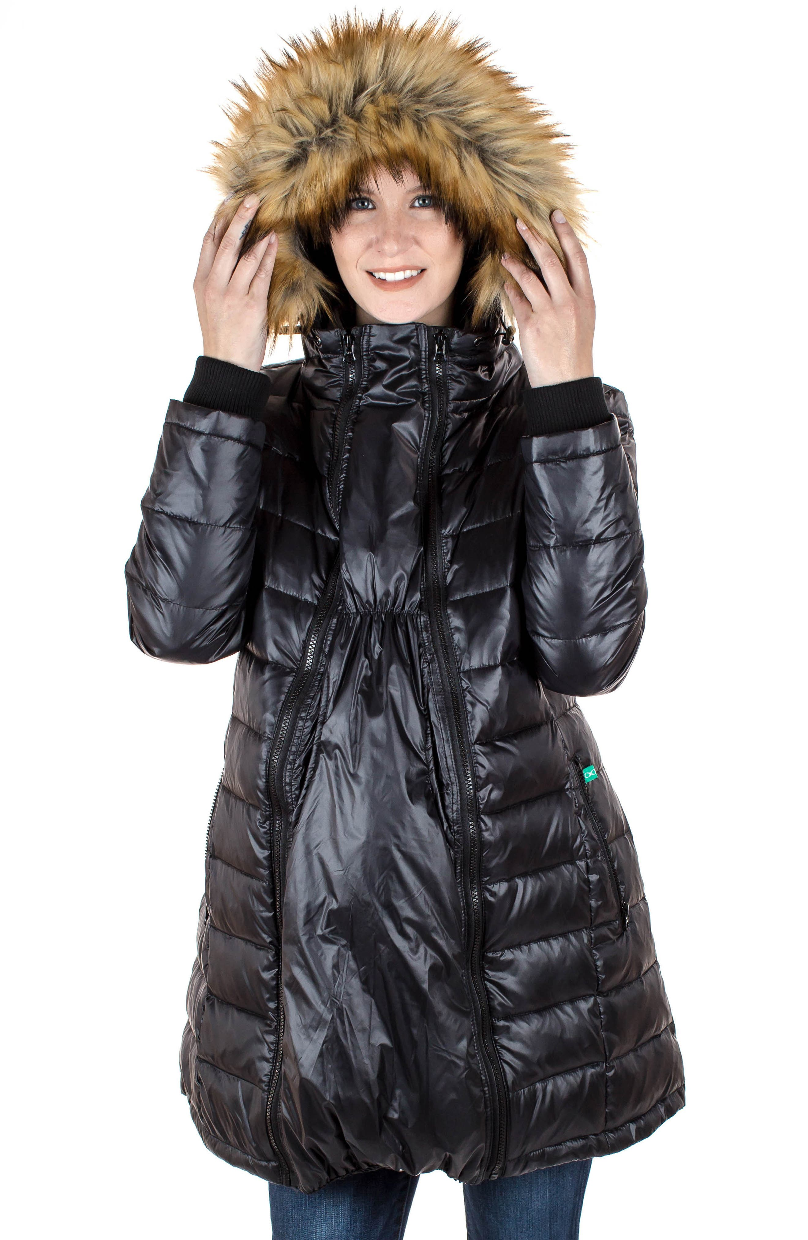 Quilted 3-in-1 Maternity/Nursing Parka,                             Alternate thumbnail 8, color,                             BLACK