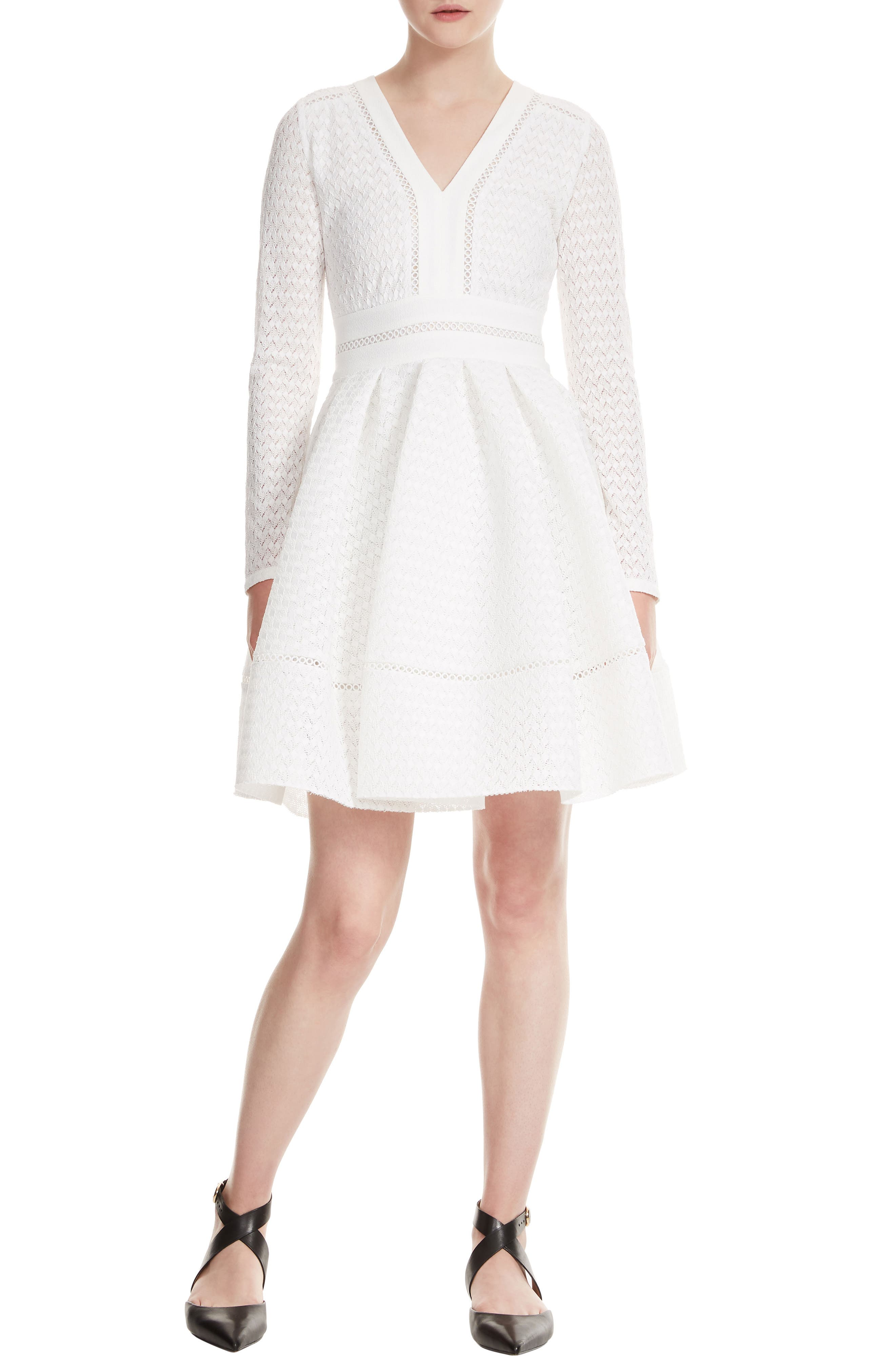 Pointelle Fit & Flare Dress,                         Main,                         color, 100