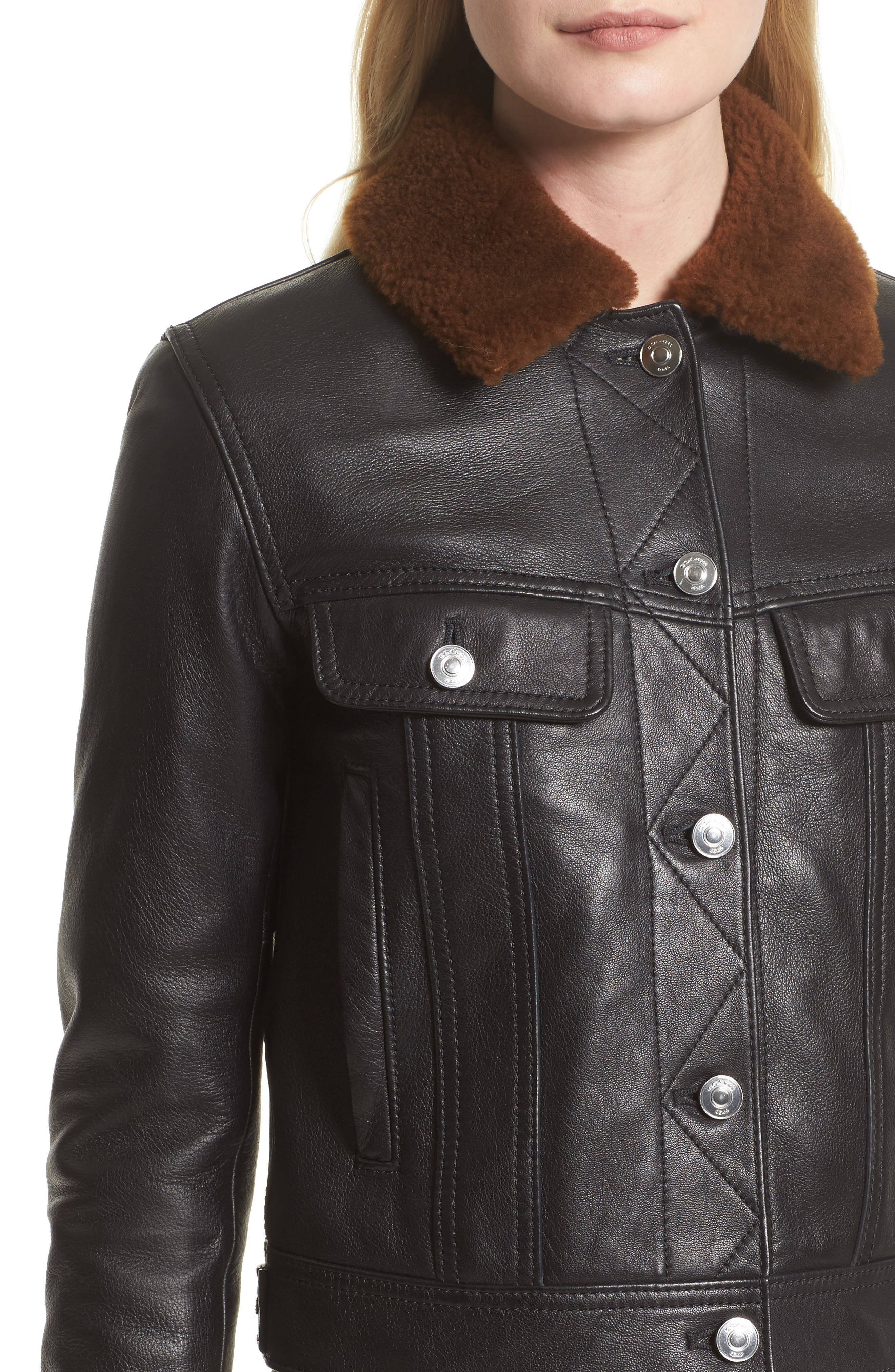Leather Trucker Jacket with Removable Genuine Shearling Collar,                             Alternate thumbnail 5, color,