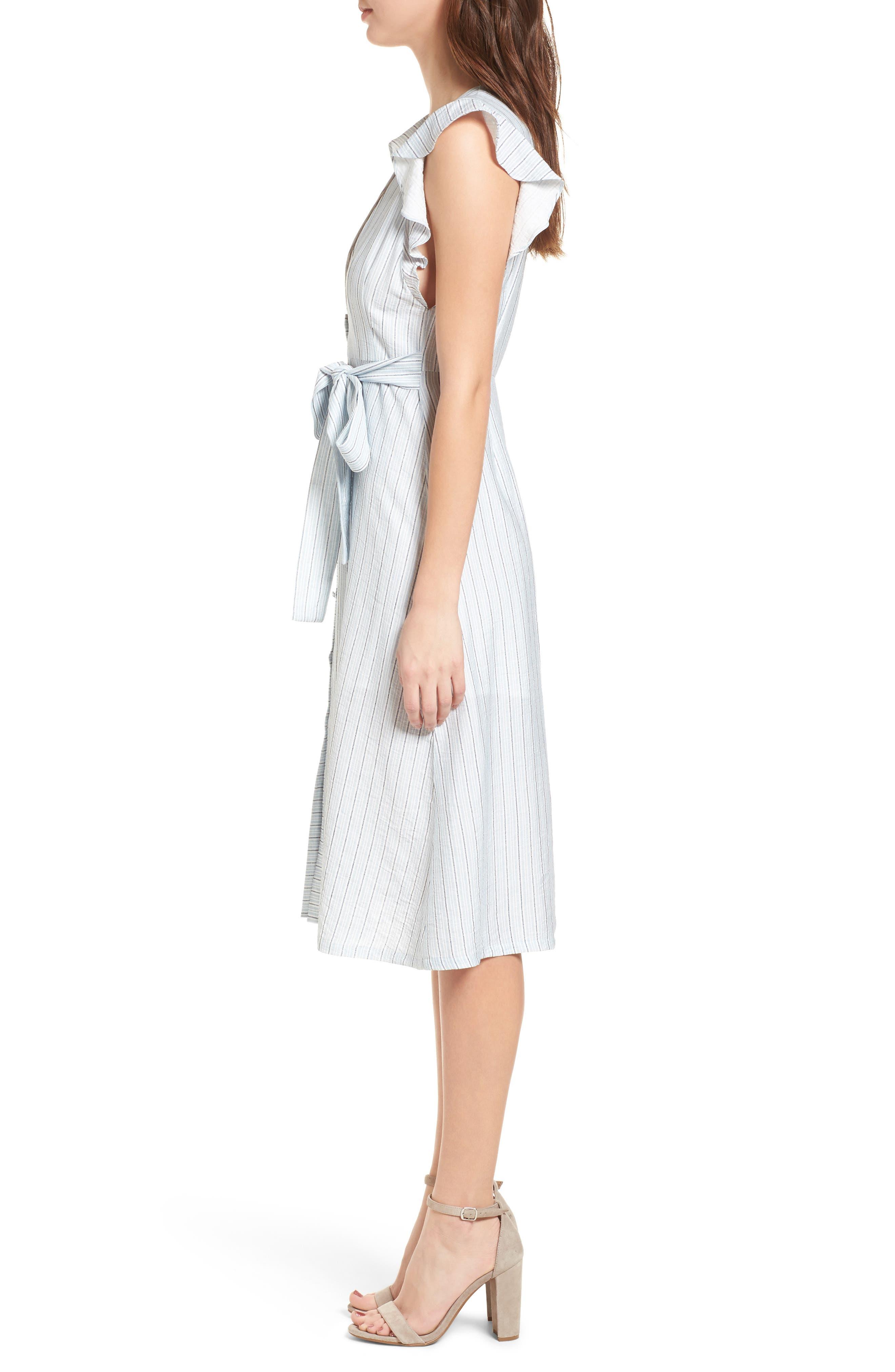 Button Front Midi Dress,                             Alternate thumbnail 3, color,                             400
