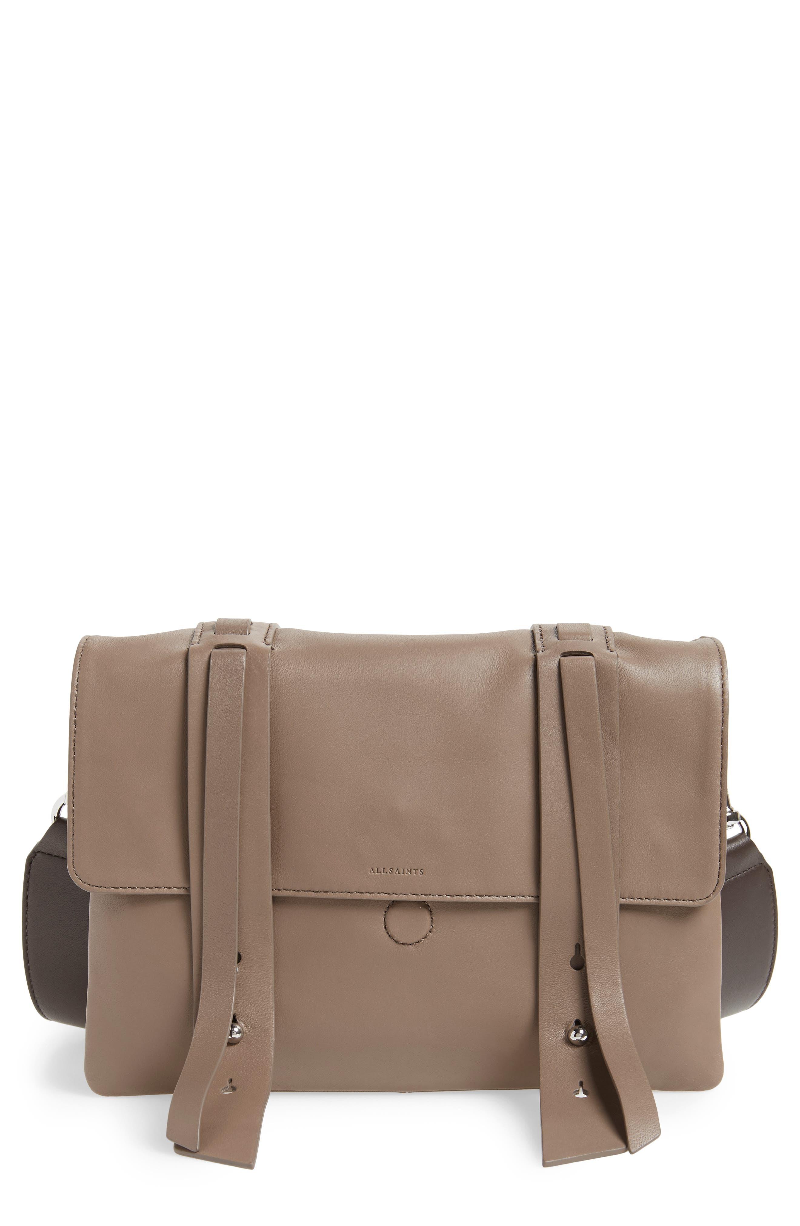 Fin Lambskin Leather Messenger Bag,                         Main,                         color,