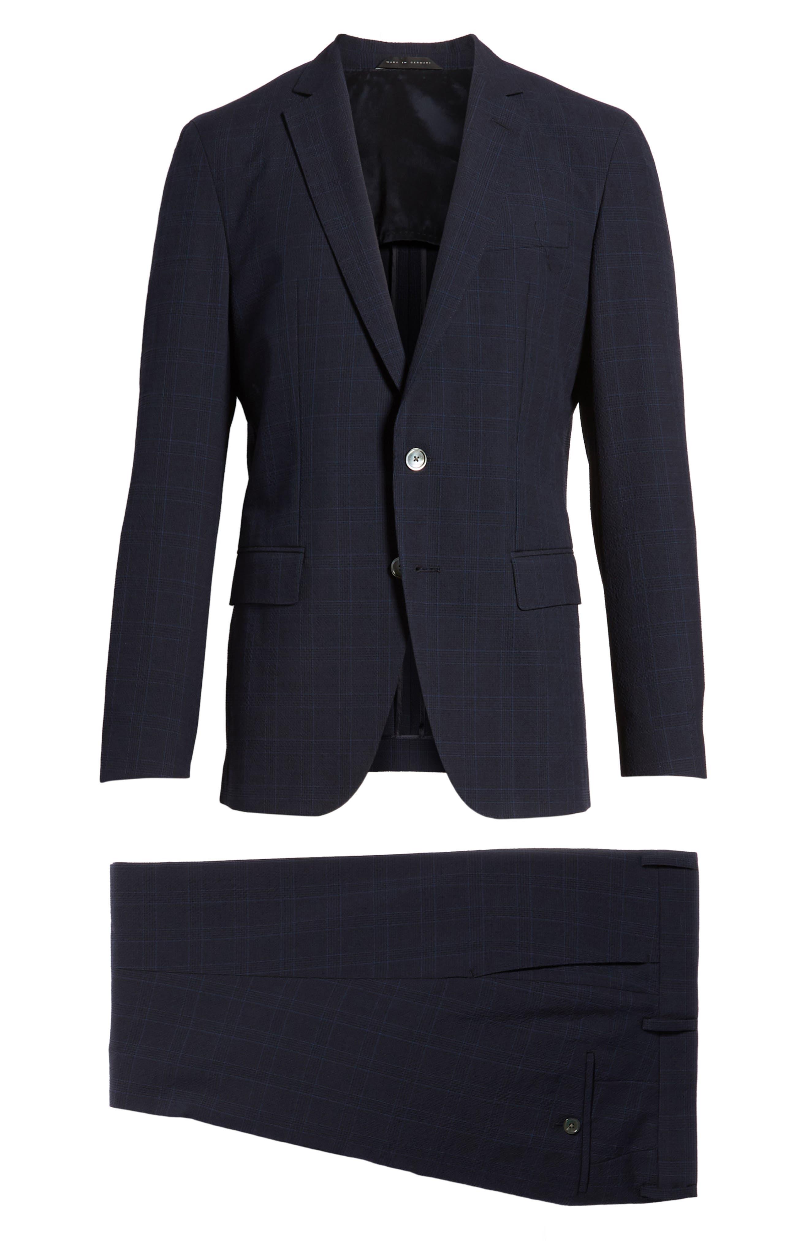 Helford/Gander Trim Fit Plaid Wool & Cotton Suit,                             Alternate thumbnail 8, color,