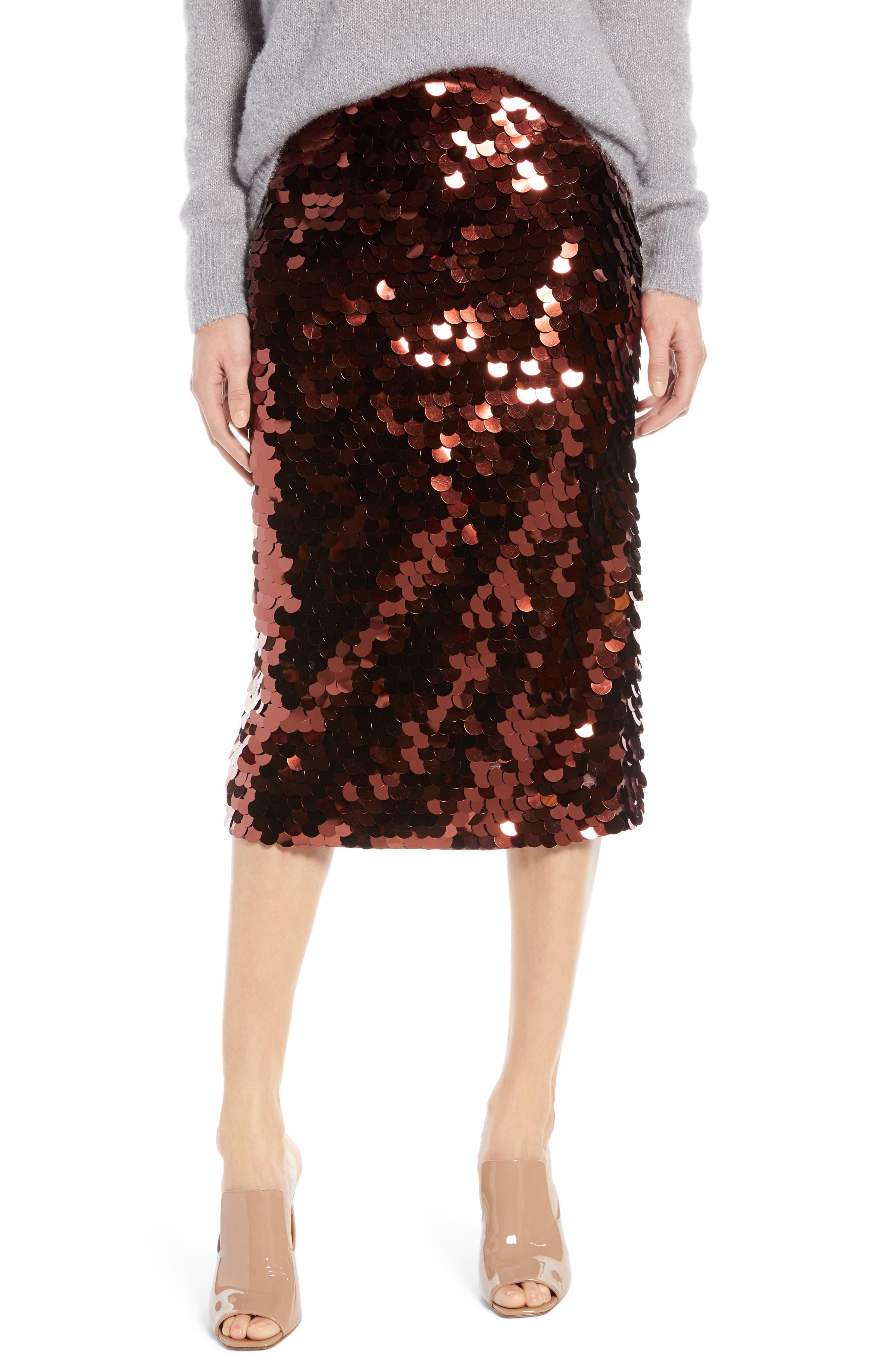 Paillette Pencil Skirt, Main, color, 510