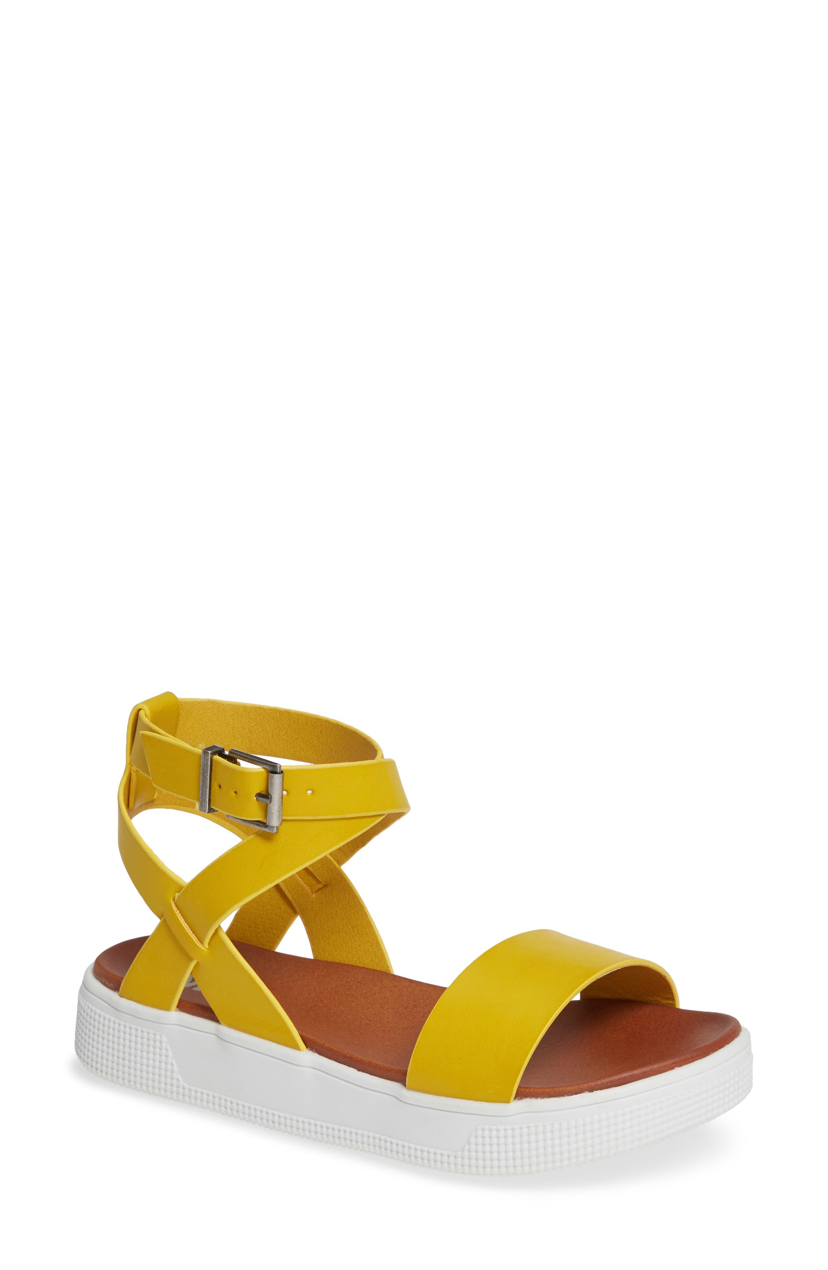Calla Platform Sandal,                             Main thumbnail 1, color,                             YELLOW FAUX LEATHER