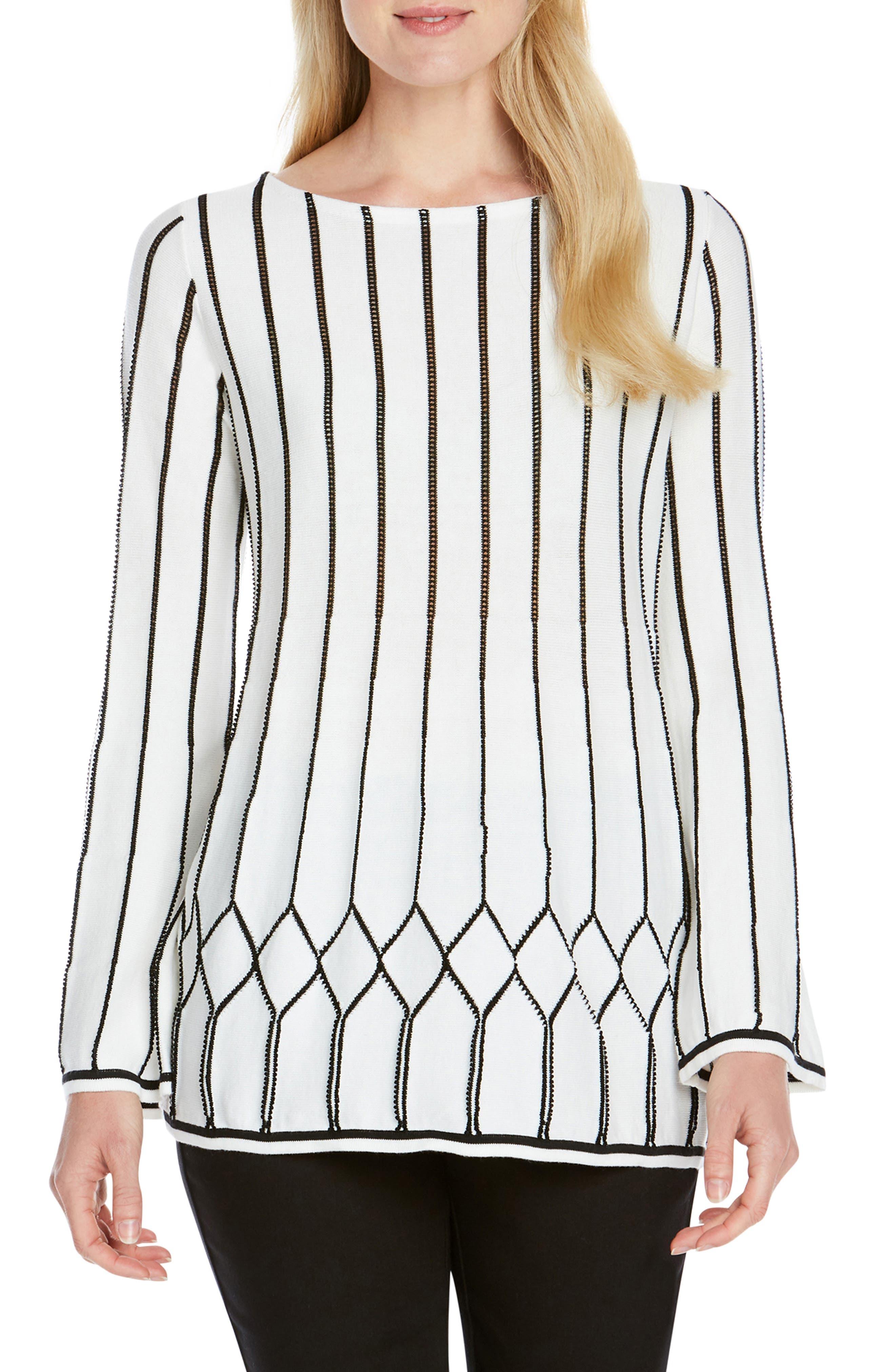 FOXCROFT Affina Pointelle Stitch Sweater in White