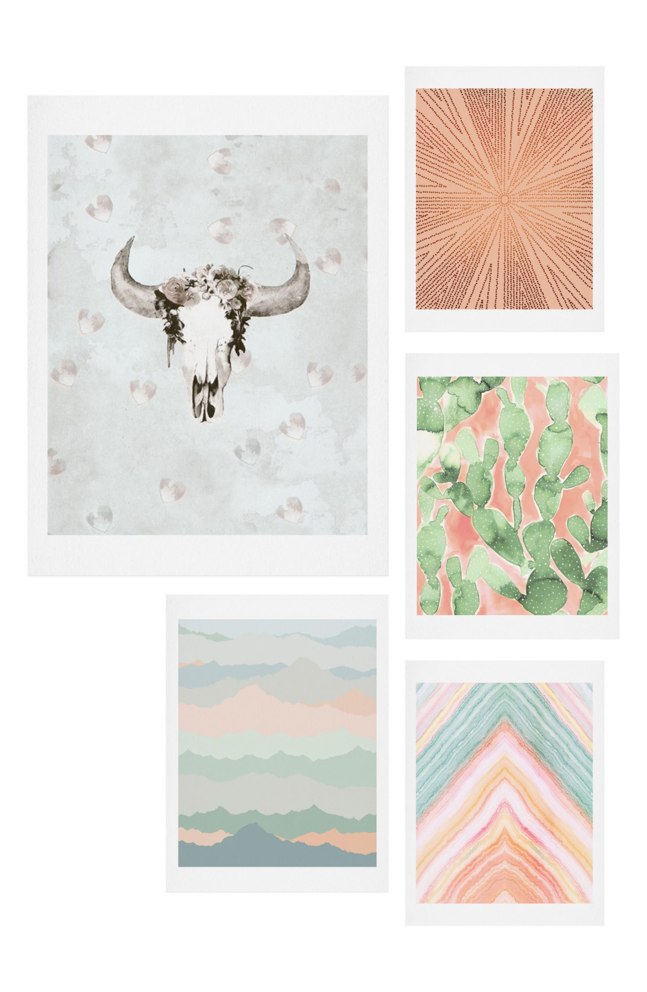 Desert Matcha Five-Piece Gallery Wall Art Print Set,                         Main,                         color, BLUSH AND GREEN