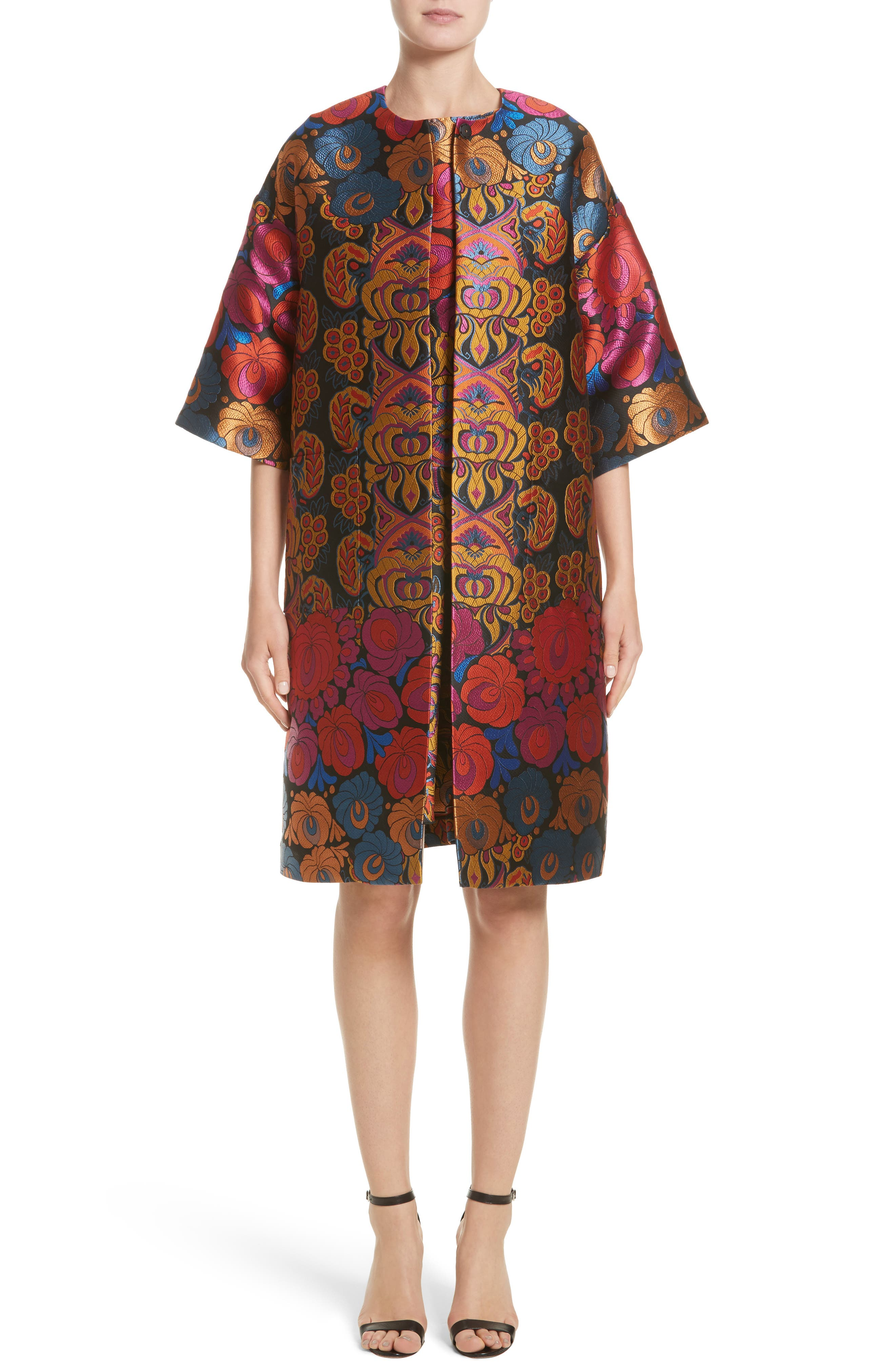Sleeveless Brocade Dress,                             Alternate thumbnail 6, color,                             001