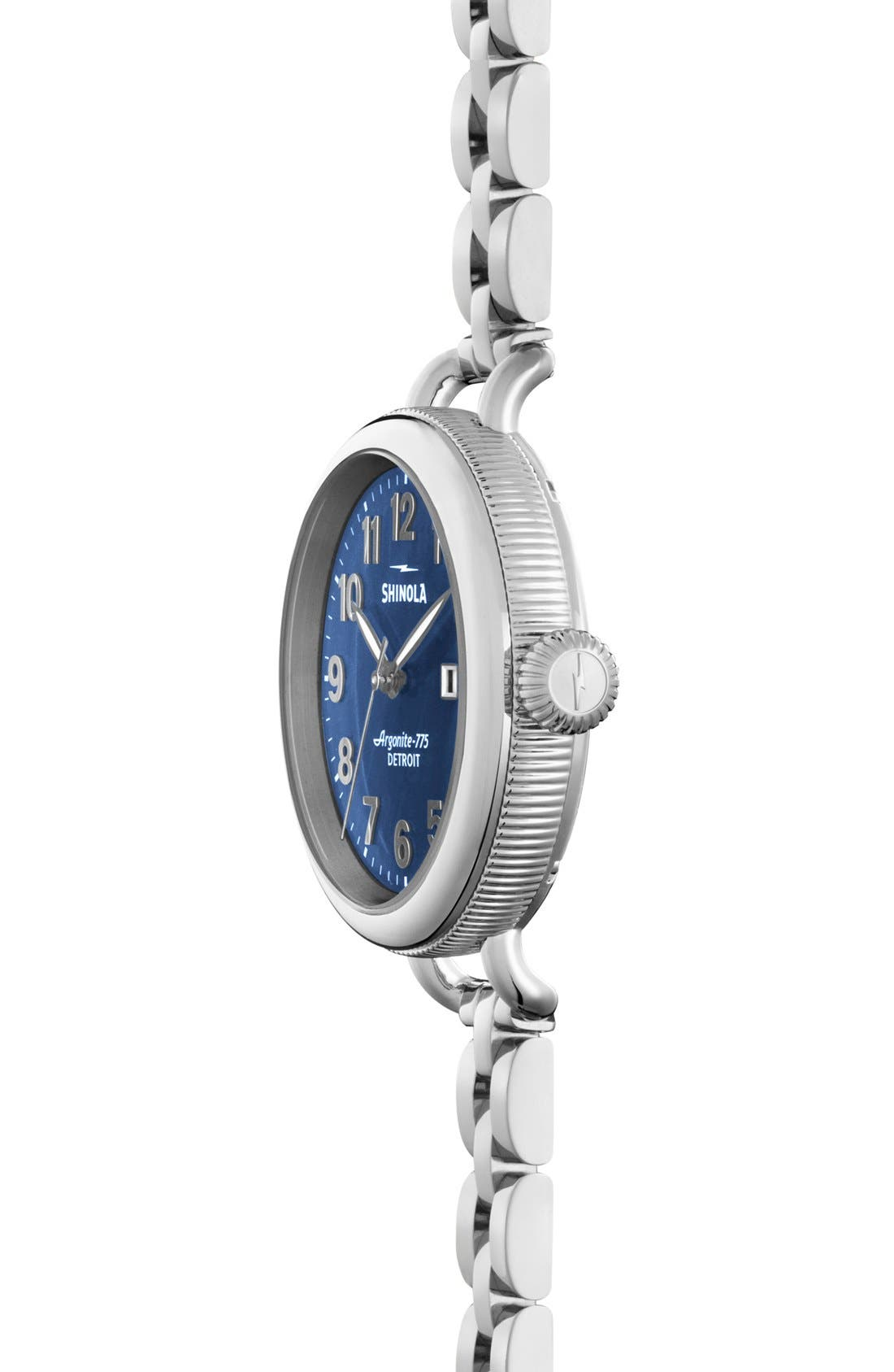 SHINOLA,                             'The Birdy' Bracelet Watch, 34mm,                             Alternate thumbnail 2, color,                             SILVER/ NAVY MOTHER OF PEARL