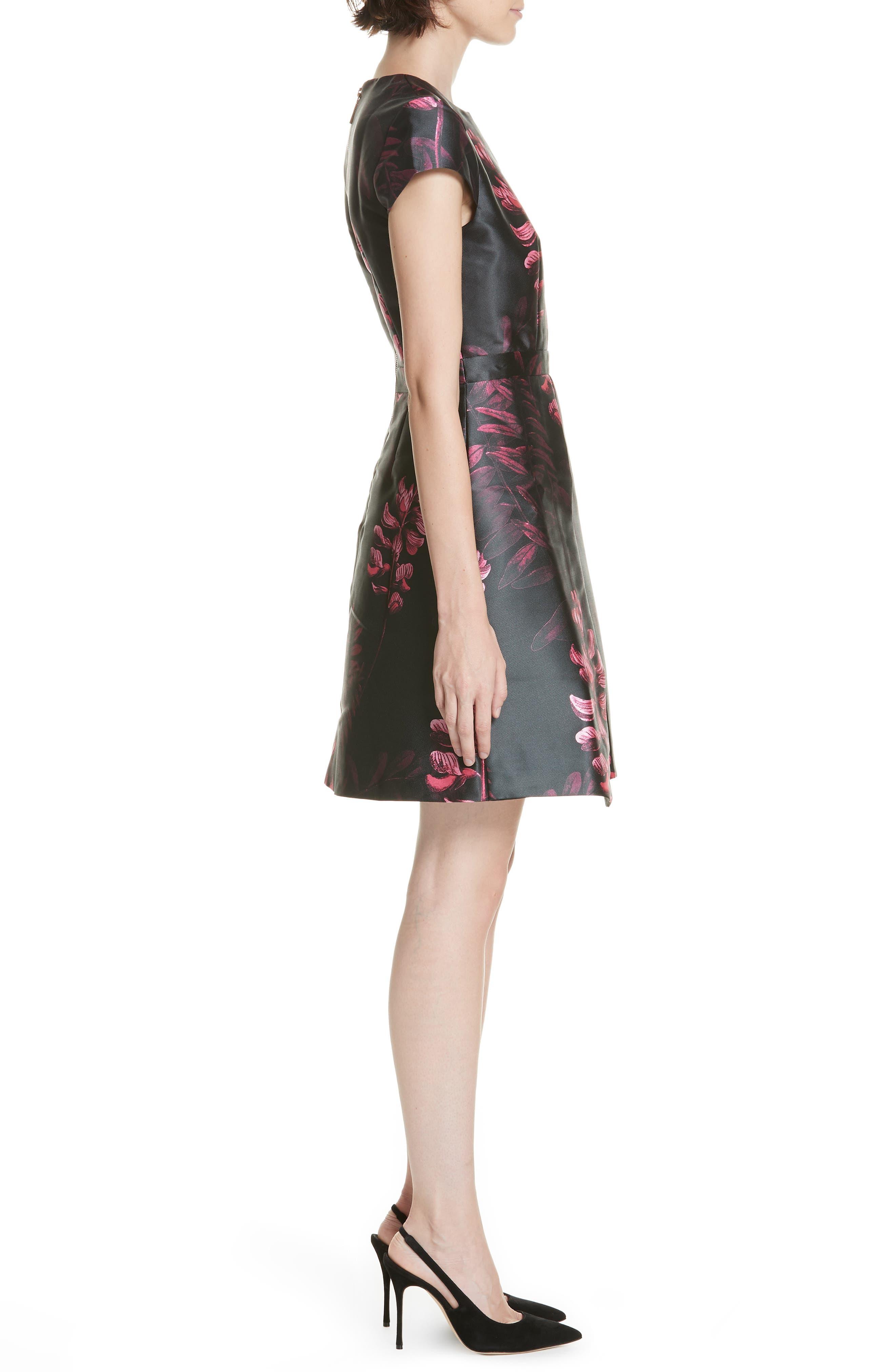 Jebby Splendor Jacquard Fit & Flare Dress,                             Alternate thumbnail 3, color,                             001