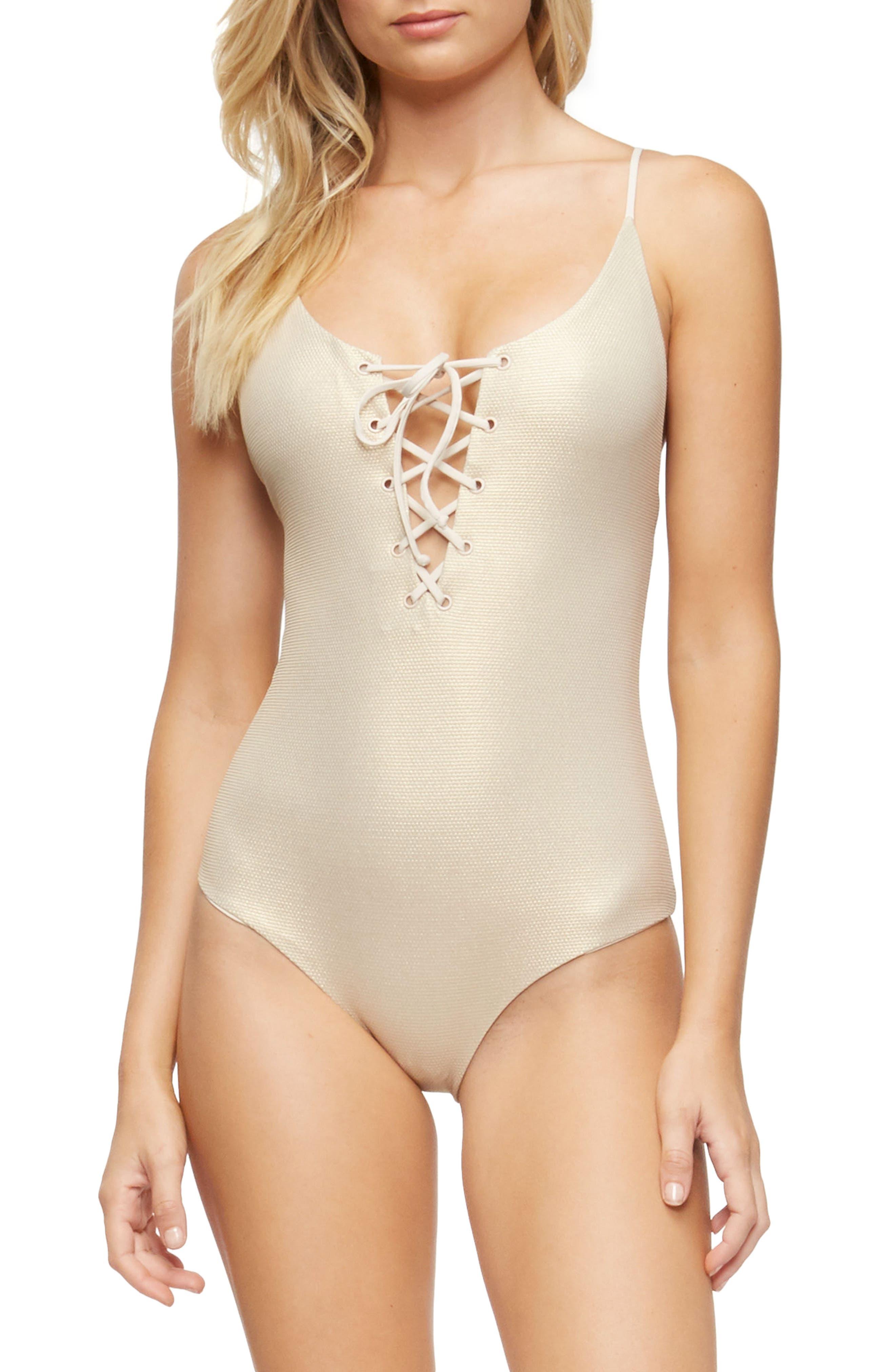Monahan One-Piece Swimsuit,                             Main thumbnail 1, color,                             TAPIOCA