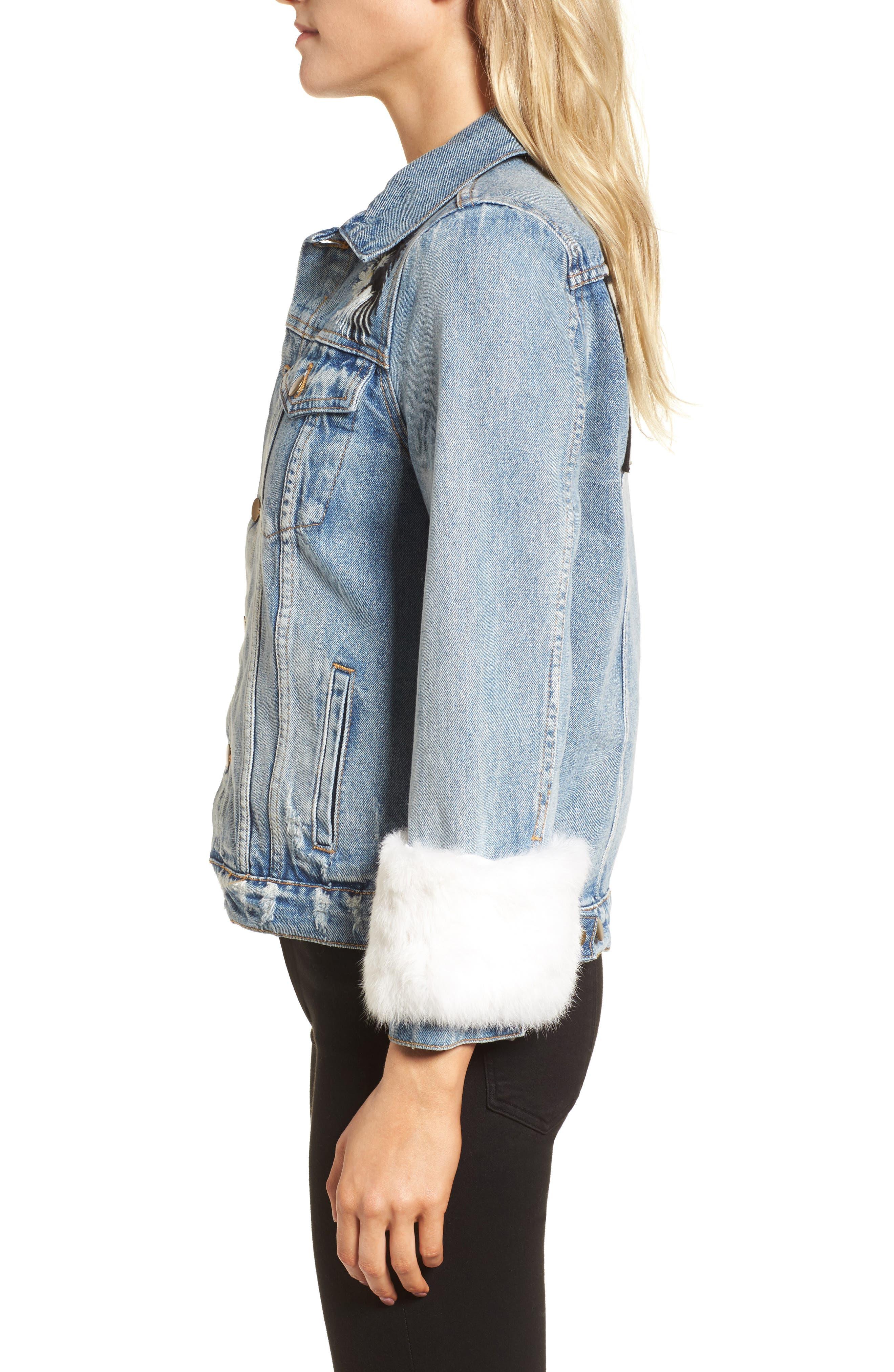 Denim Jacket with Genuine Rabbit Fur Trim,                             Alternate thumbnail 3, color,                             424