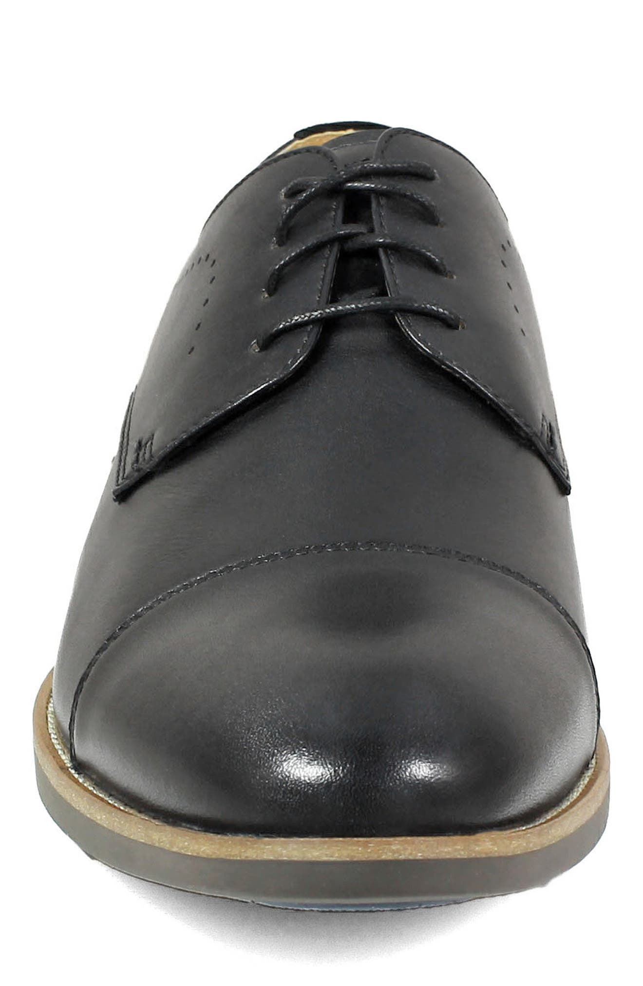 Uptown Cap Toe Derby,                             Alternate thumbnail 4, color,                             BLACK LEATHER