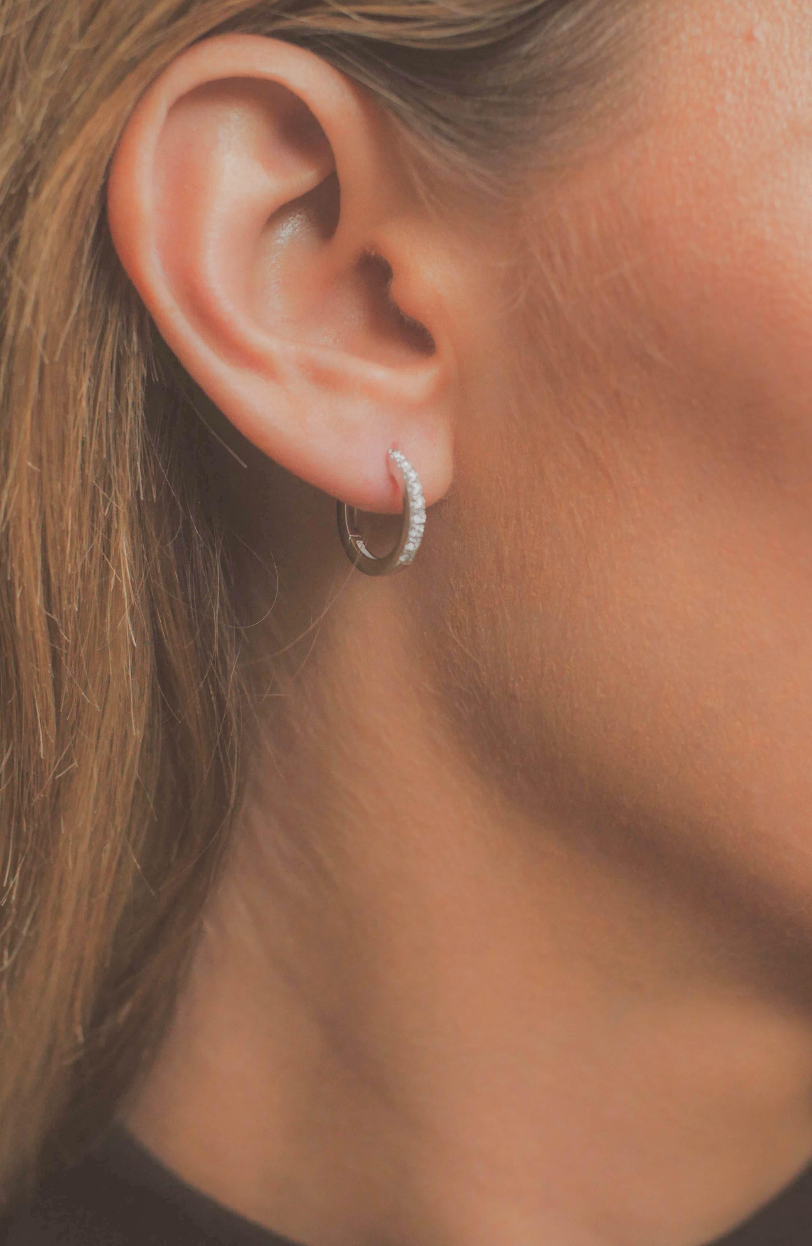 Diamond Hoop Earrings,                             Alternate thumbnail 3, color,                             WHITE GOLD