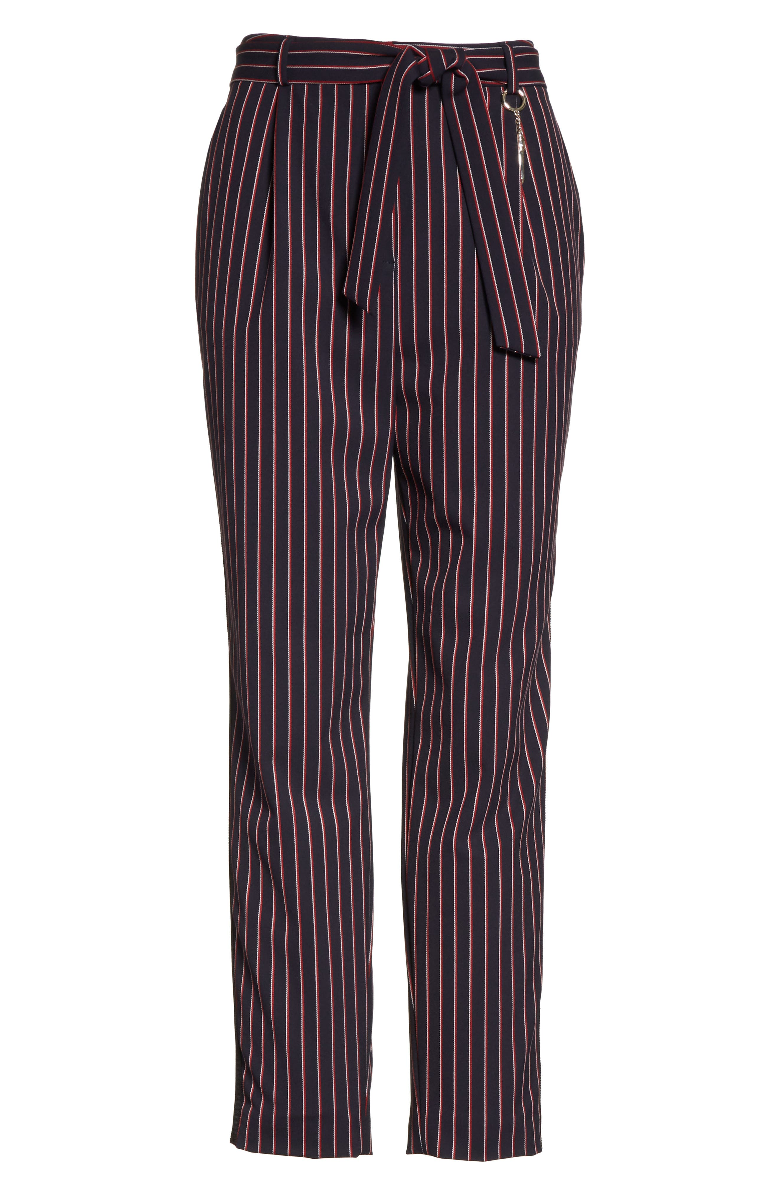 Colour by Numbers Belted Stripe Crop Pants,                             Alternate thumbnail 6, color,