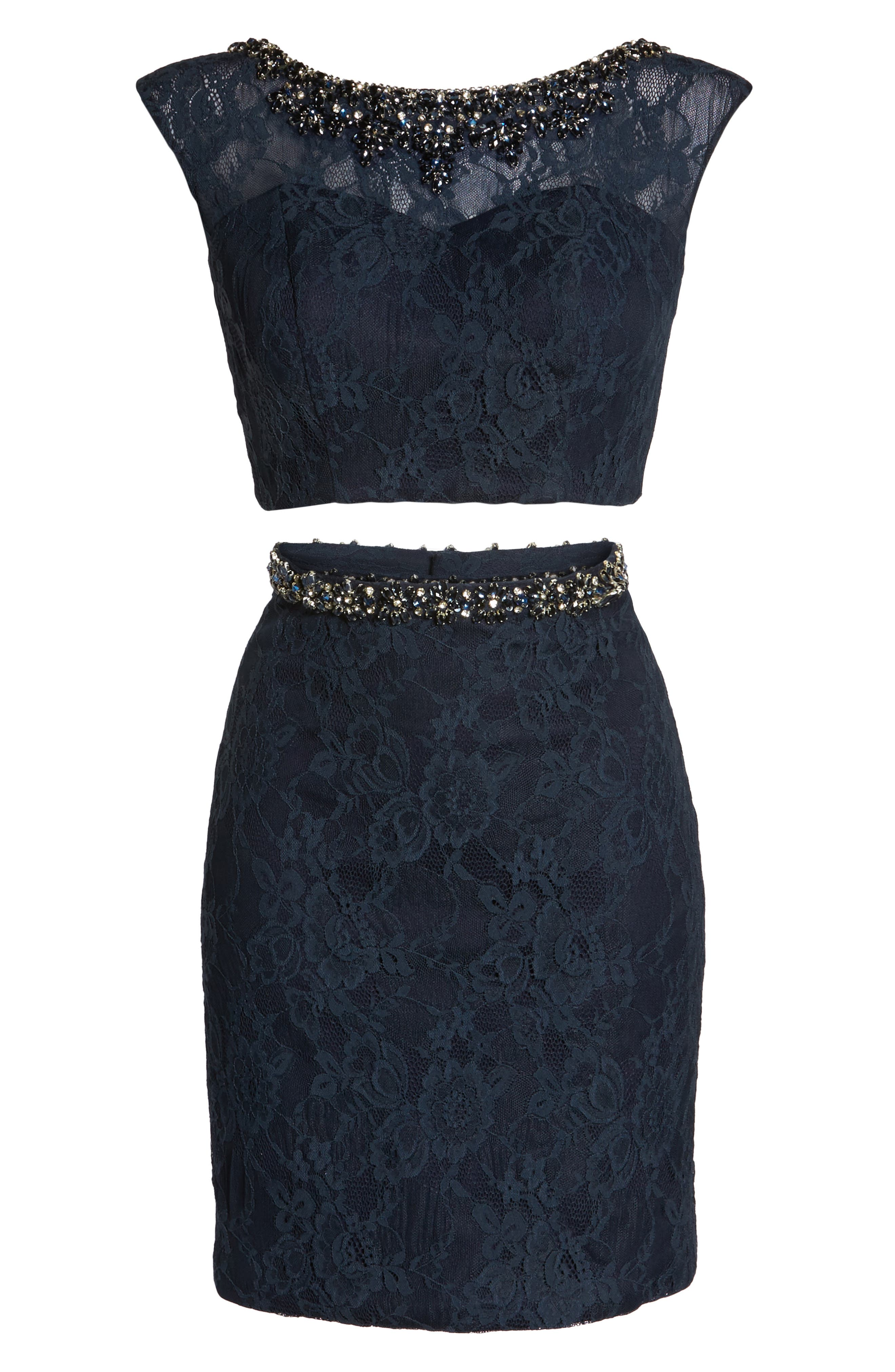 Embellished Two-Piece Lace Dress,                             Alternate thumbnail 6, color,                             410