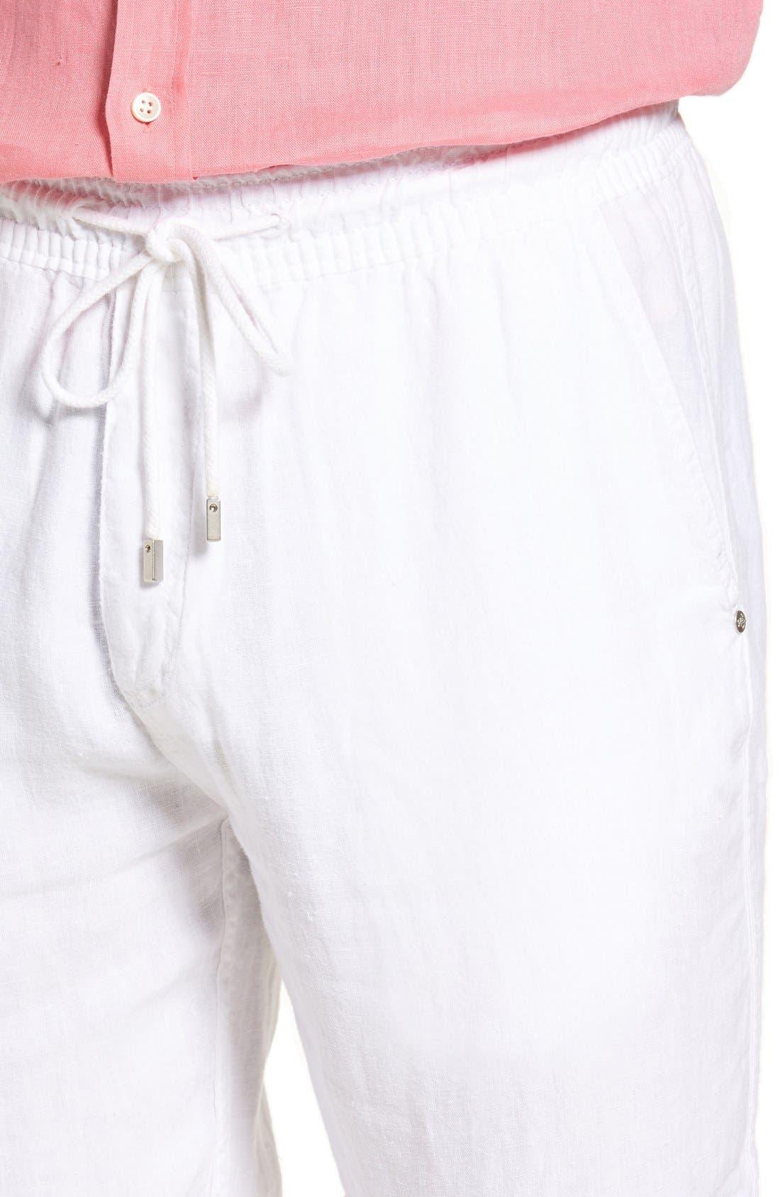 'Classic' Linen Pants,                             Alternate thumbnail 4, color,                             WHITE