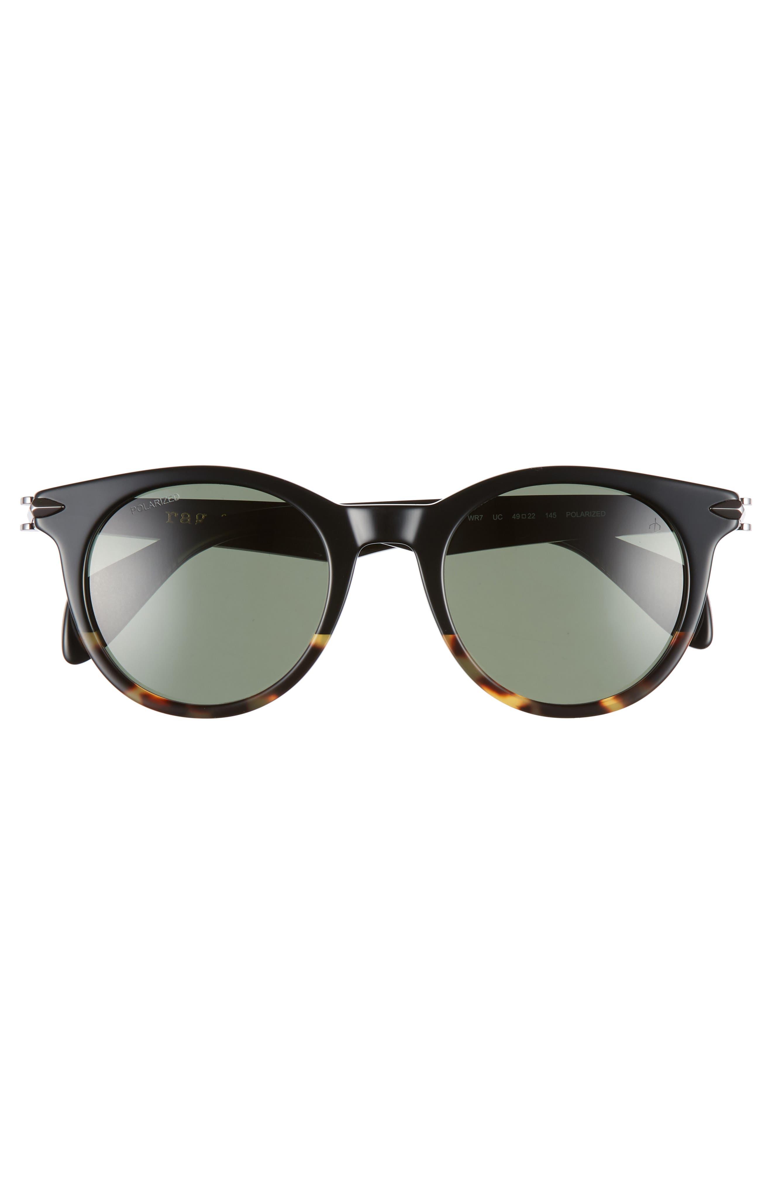 49mm Polarized Round Sunglasses,                             Alternate thumbnail 2, color,                             BLACK HAVANA