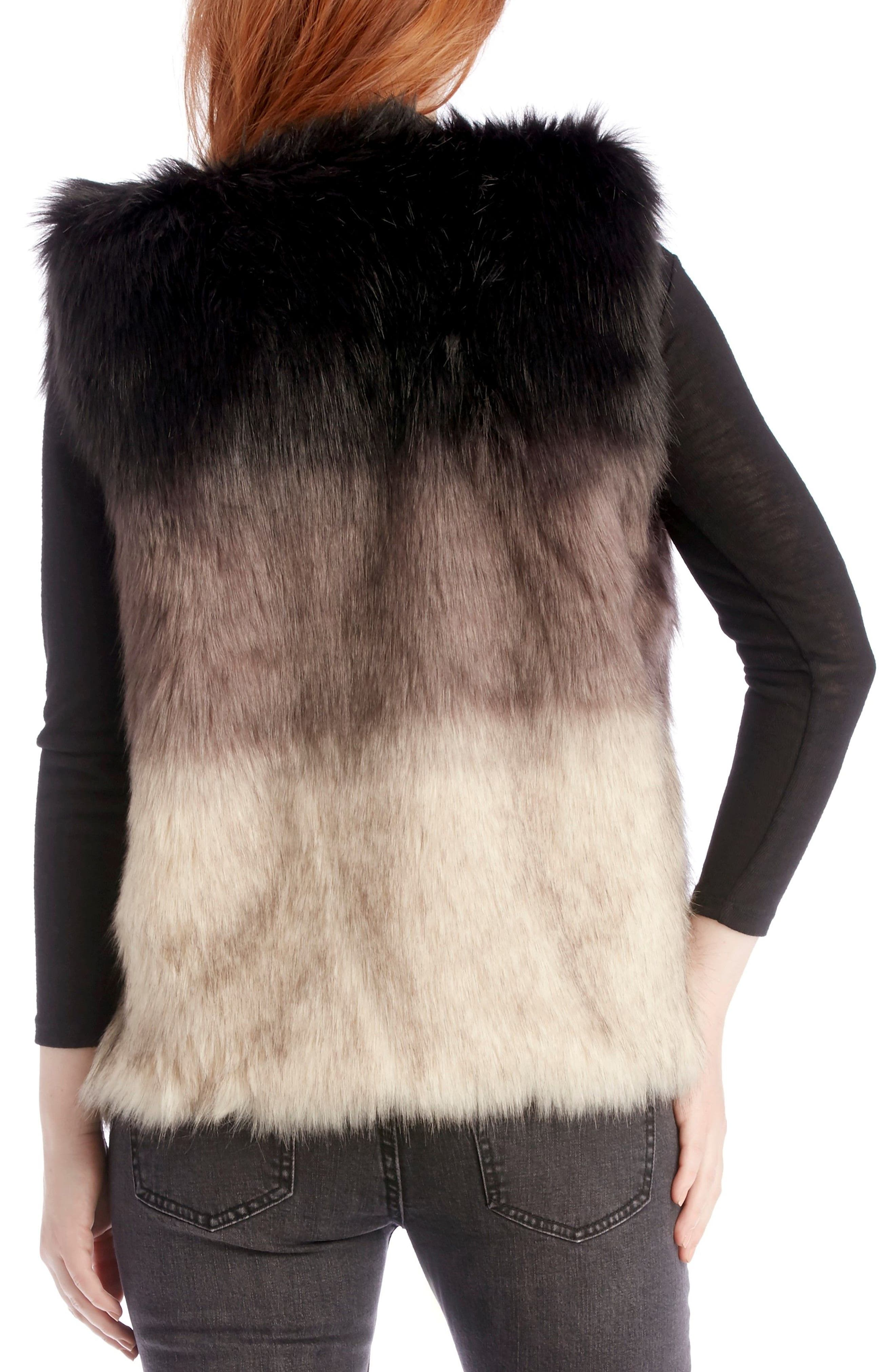 Ombré Faux Fur Vest,                             Alternate thumbnail 3, color,