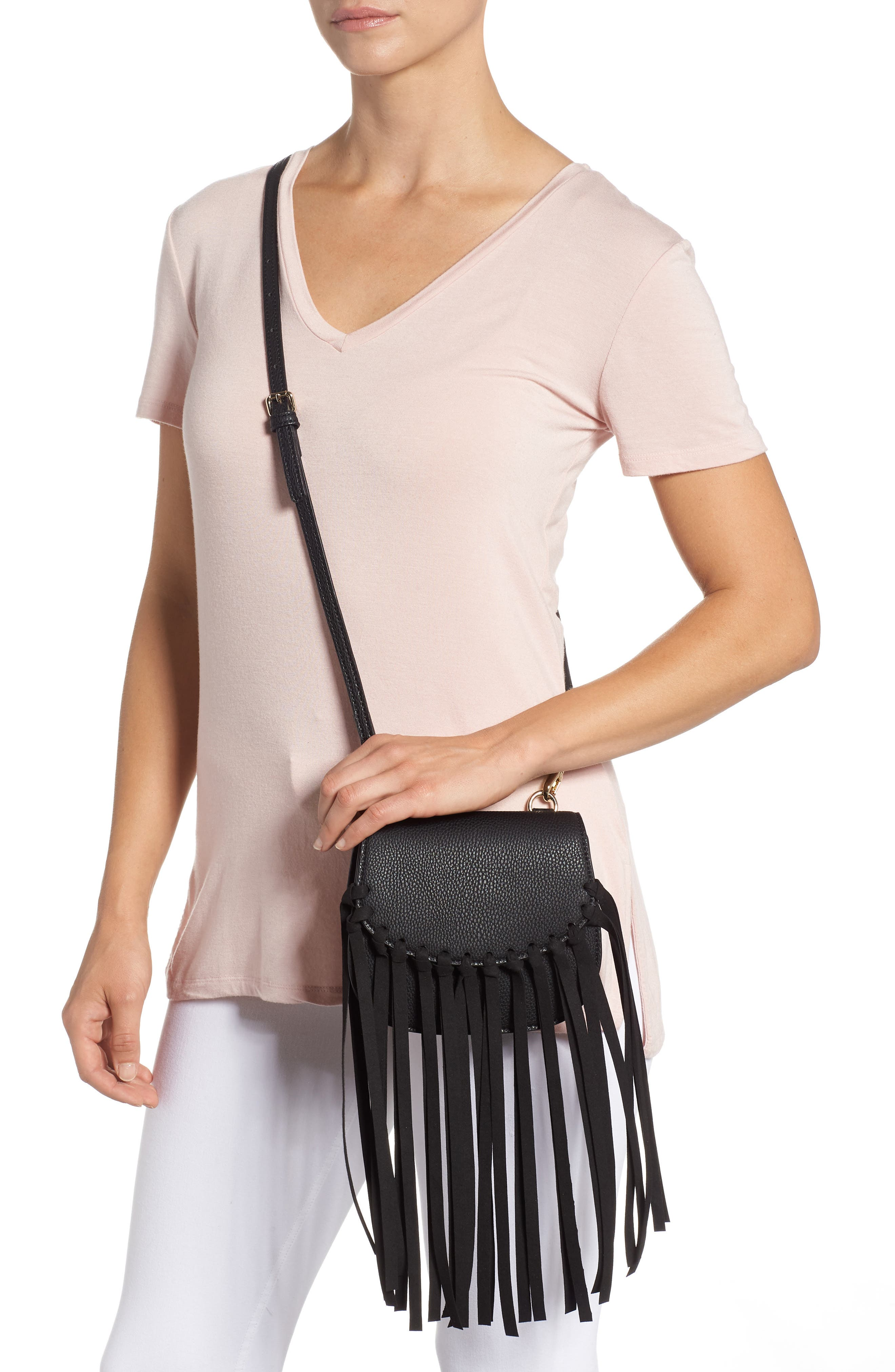 Mini Dylan Fringe Faux Leather Crossbody Bag,                             Alternate thumbnail 2, color,                             BLACK LEATHER