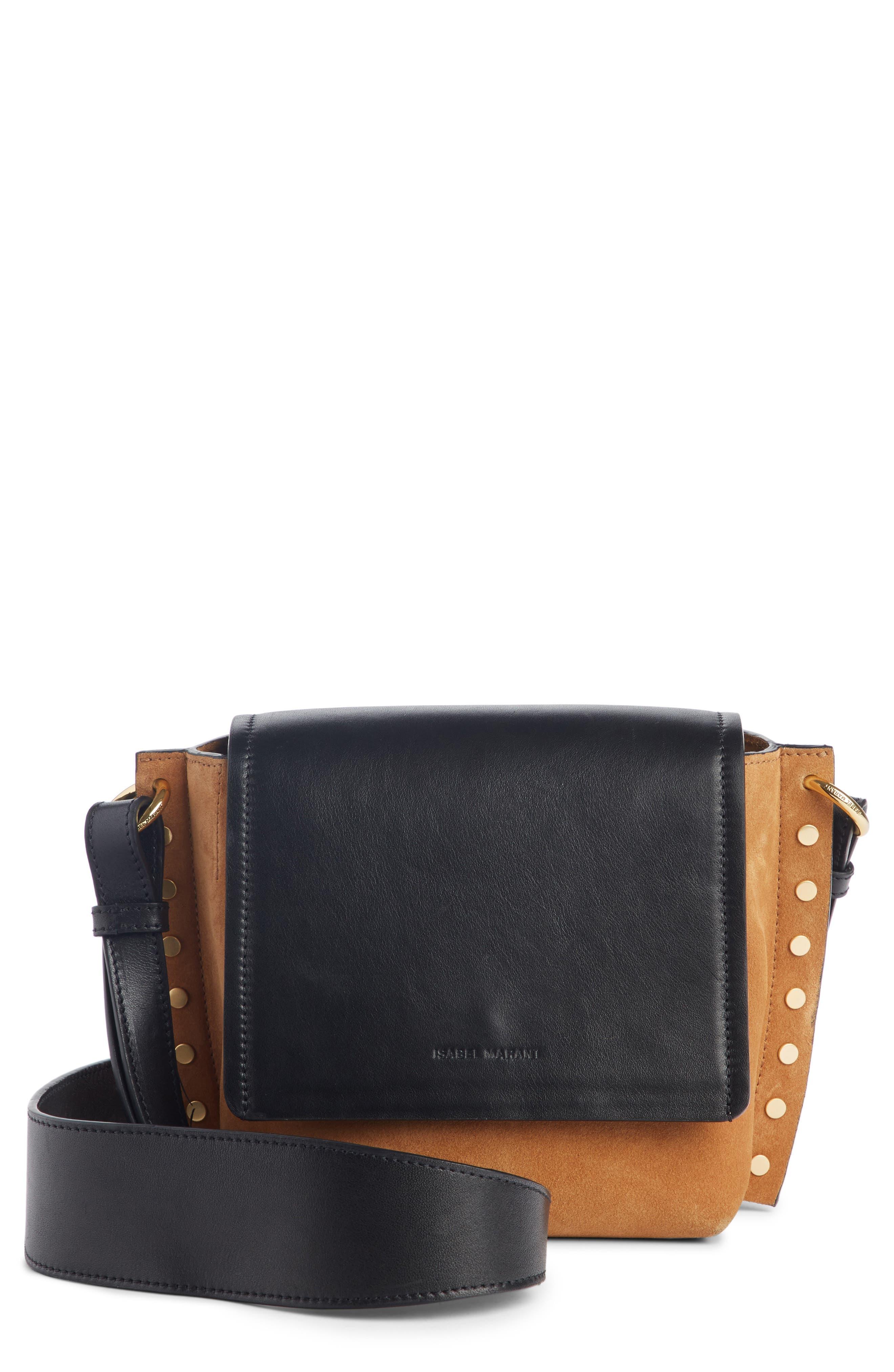 Kleny Colorblock Leather & Suede Shoulder Bag,                             Main thumbnail 1, color,                             CAMEL