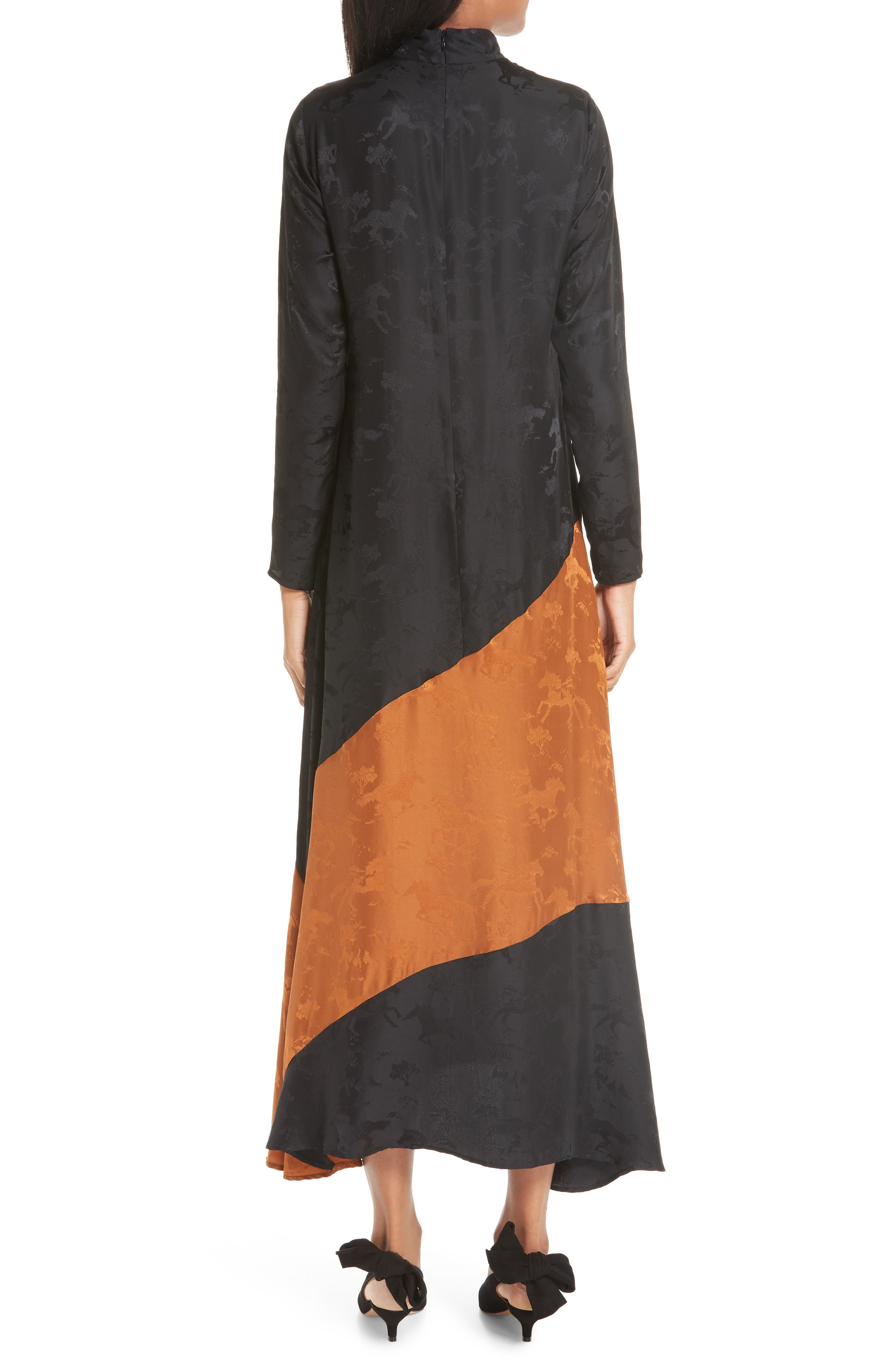 Silk Jacquard Dress,                             Alternate thumbnail 2, color,                             BLACK 099