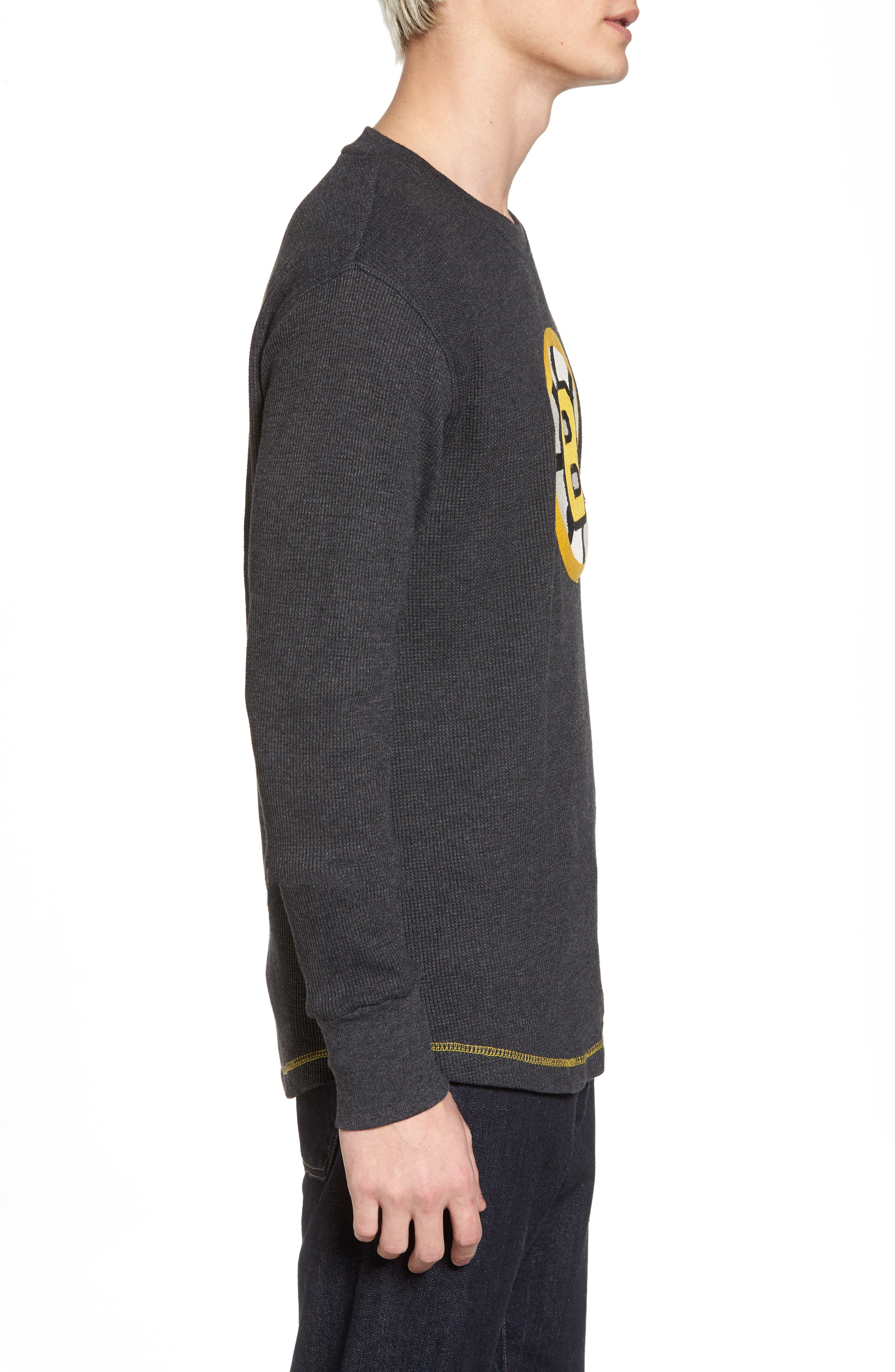 Boston Bruins Embroidered Long Sleeve Thermal Shirt,                             Alternate thumbnail 3, color,                             001