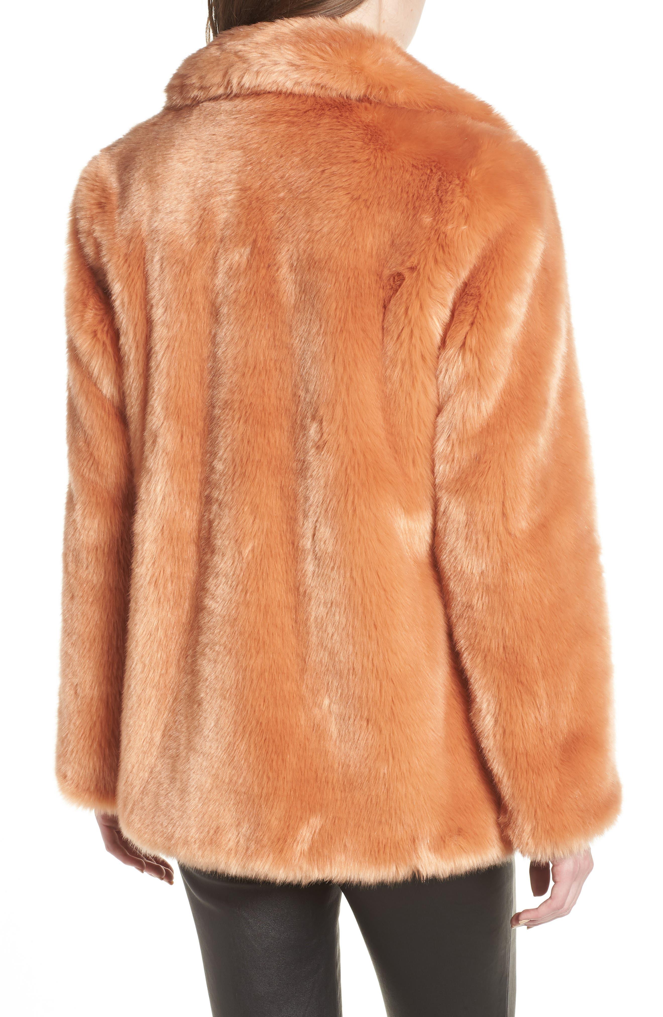 AVEC LES FILLES,                             Notch Collar Faux Fur Coat,                             Alternate thumbnail 2, color,                             669