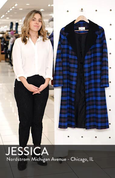 Ruth Plaid Contrast Collar Coat, sales video thumbnail