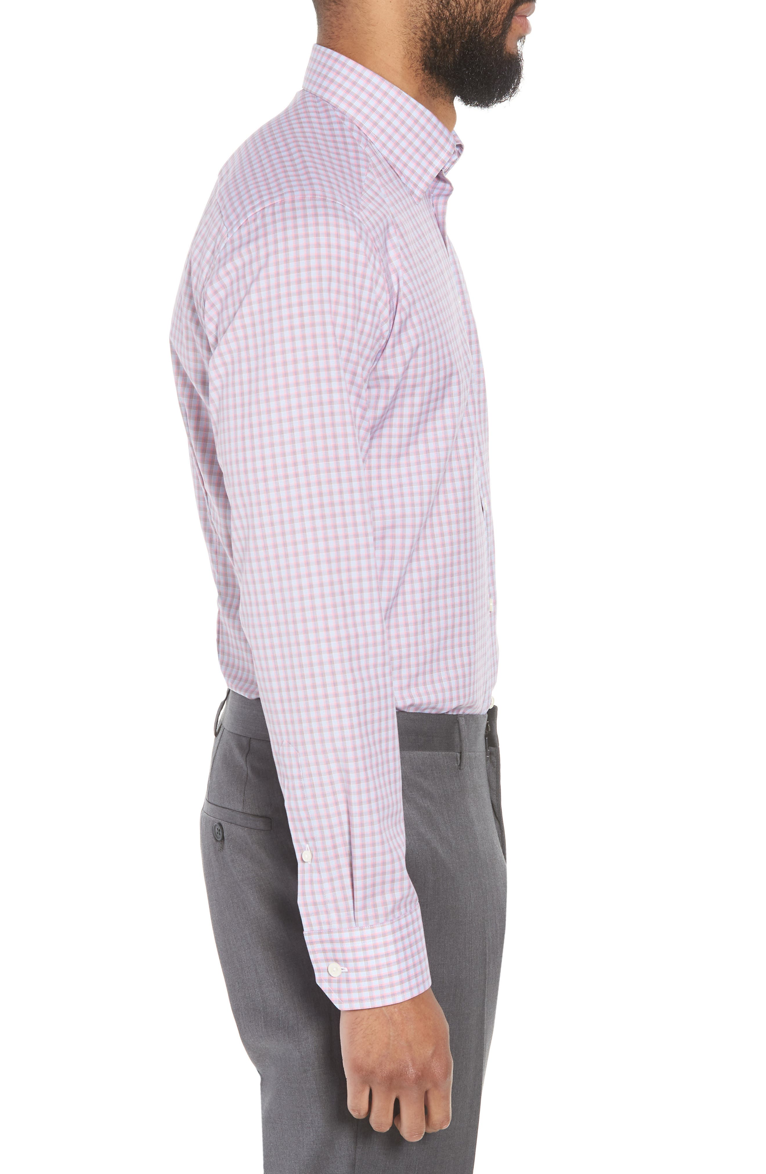 Contemporary Fit Plaid Dress Shirt,                             Alternate thumbnail 4, color,                             PINK