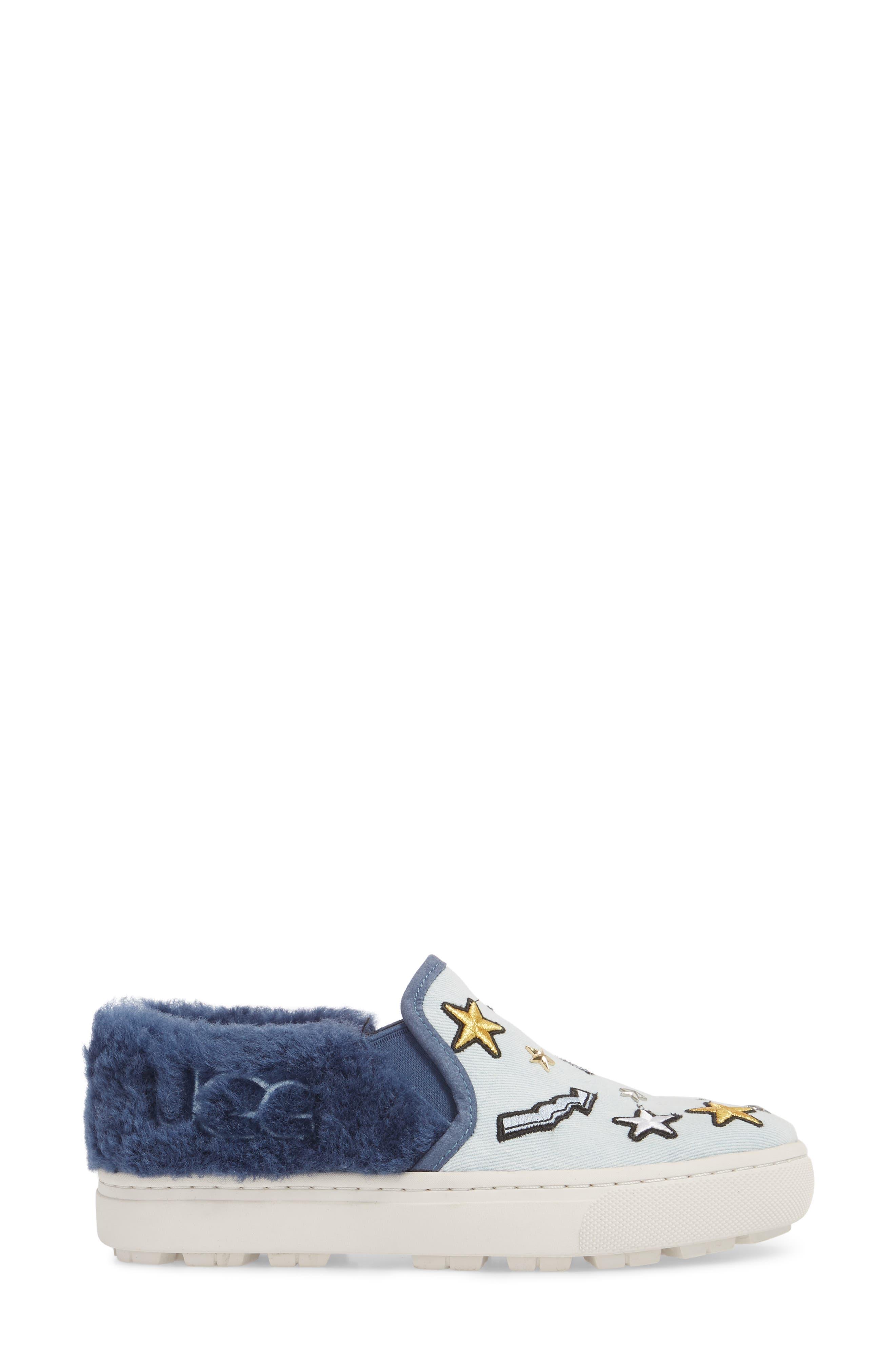 Patch It Genuine Shearling Trim Slip-On Sneaker,                             Alternate thumbnail 3, color,                             BLEACH DENIM