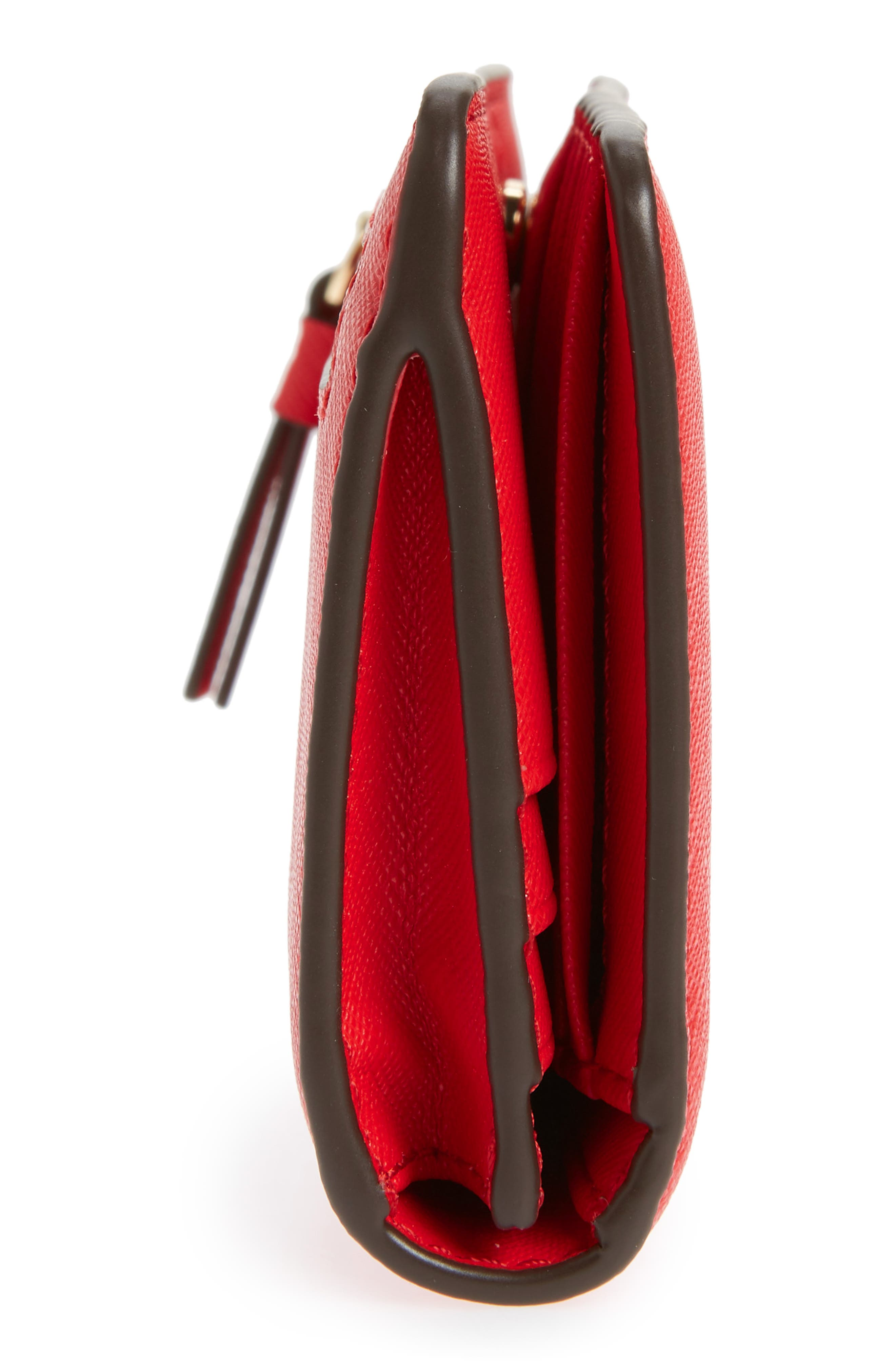 Robinson Saffiano Leather Continental Wallet,                             Alternate thumbnail 5, color,                             BRILLIANT RED