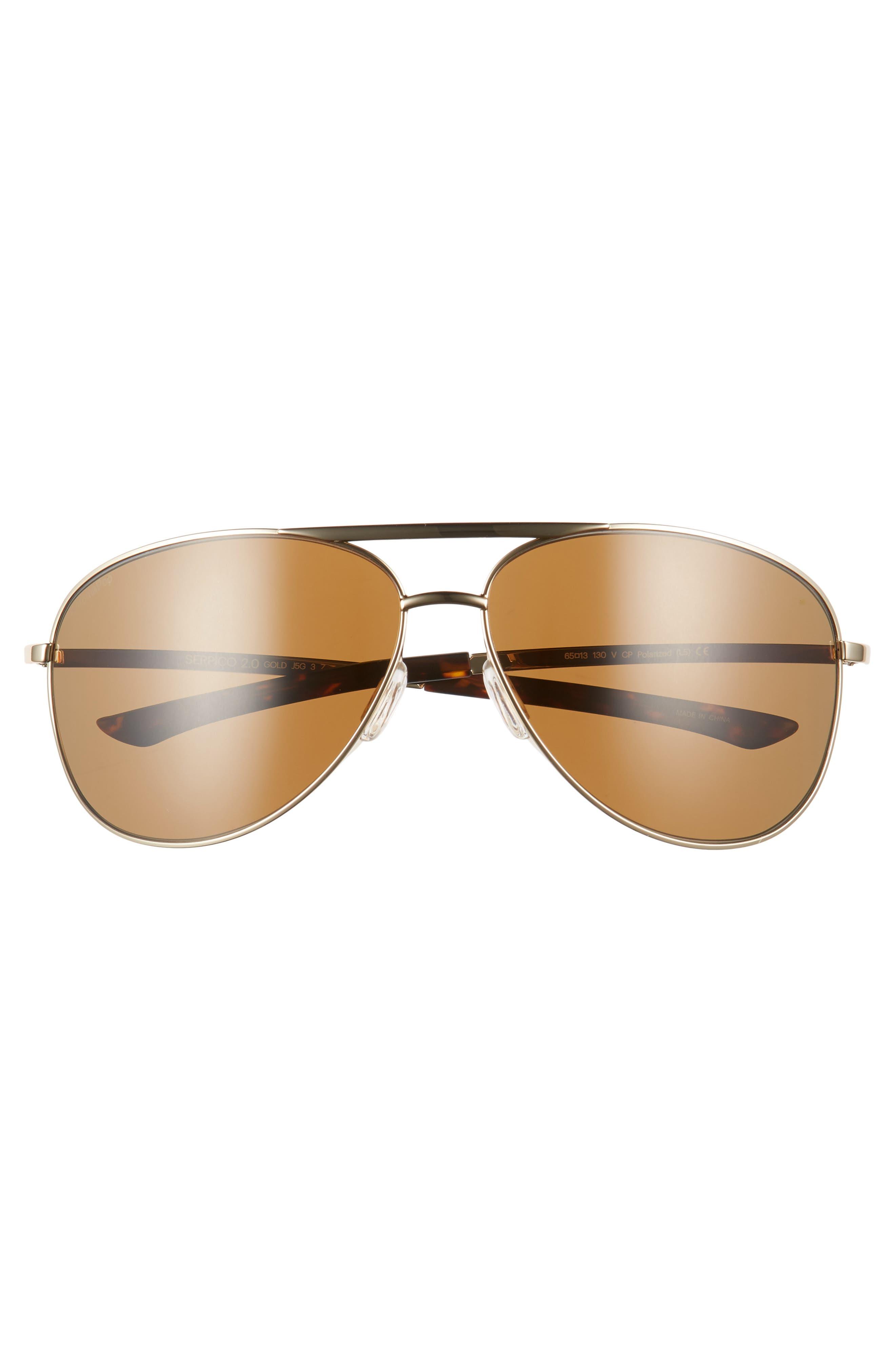 Serpico Slim 2.0 65mm ChromaPop<sup>™</sup> Polarized Aviator Sunglasses,                             Alternate thumbnail 3, color,                             GOLD/ BROWN POLAR