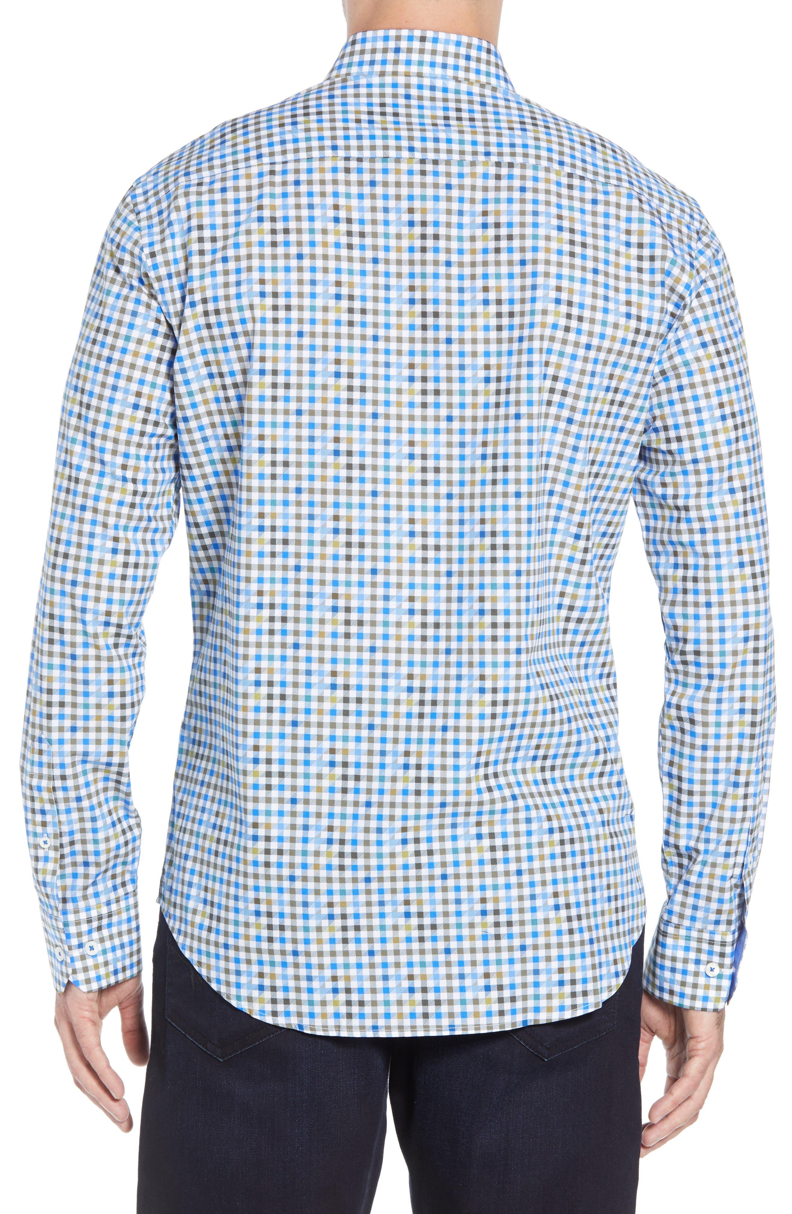 Shaped Fit Print Sport Shirt,                             Alternate thumbnail 3, color,                             OLIVE