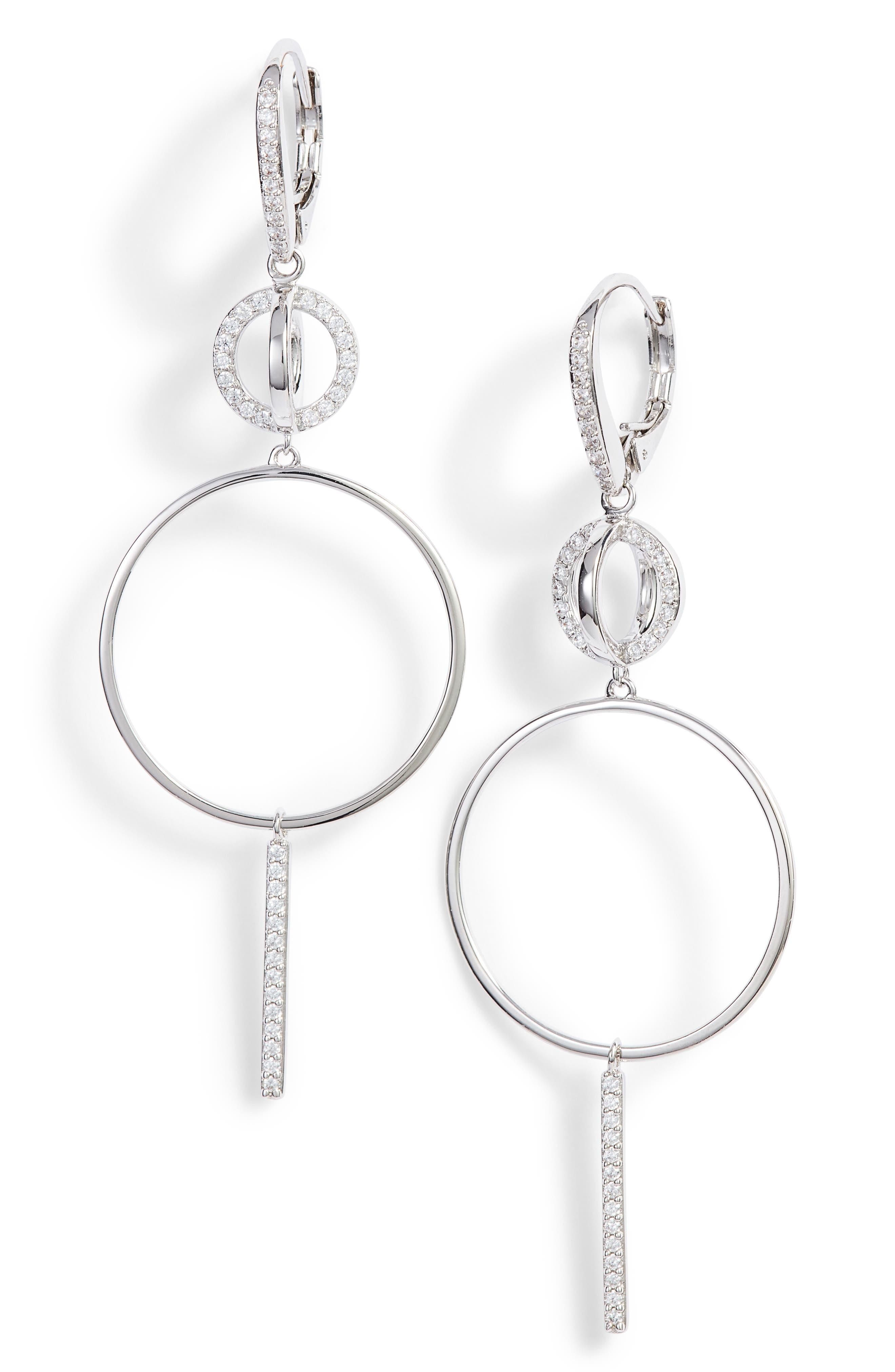 Cubic Zirconia Hoop Drop Earrings,                             Main thumbnail 1, color,                             040