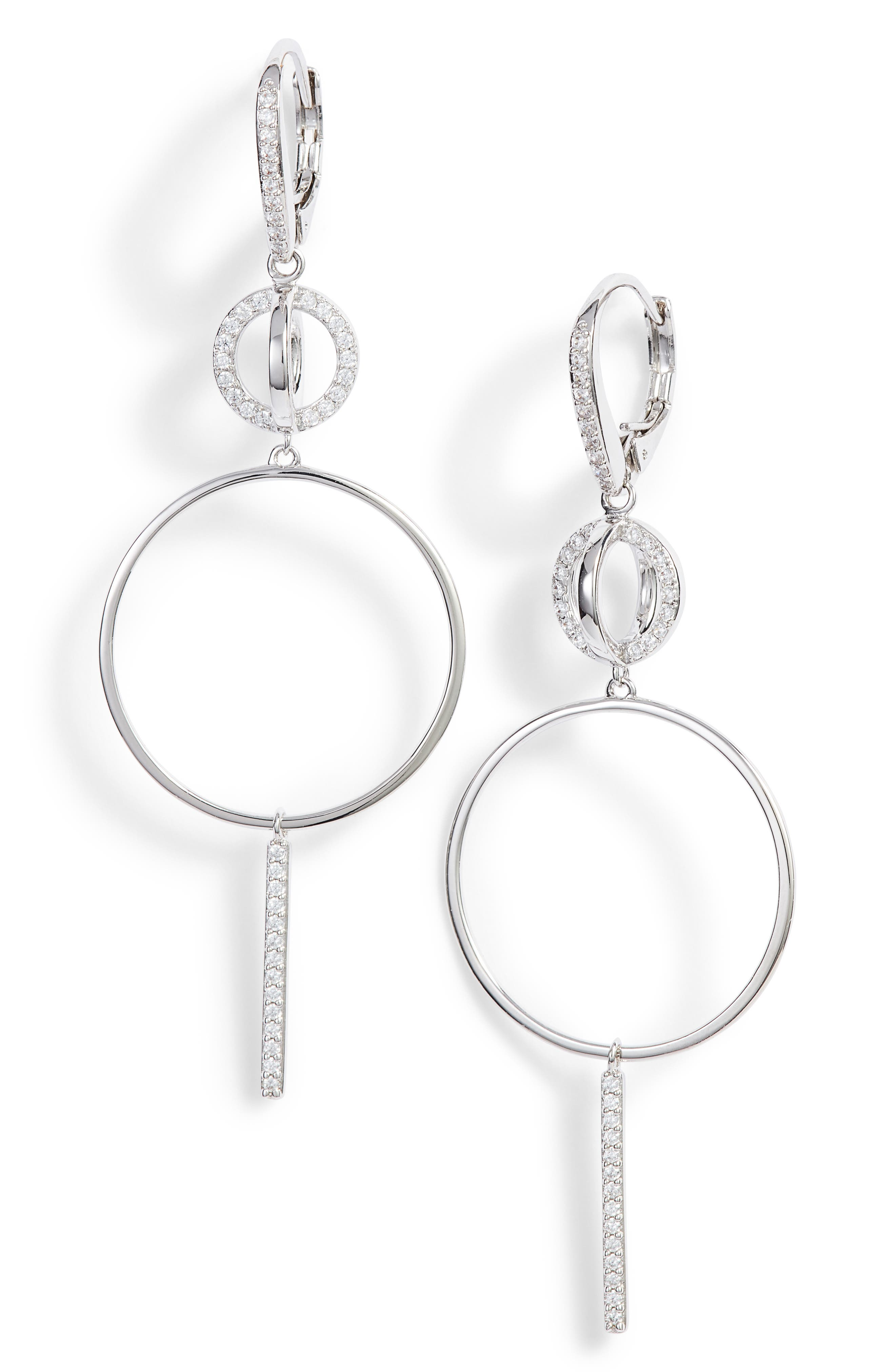 Cubic Zirconia Hoop Drop Earrings,                         Main,                         color, 040
