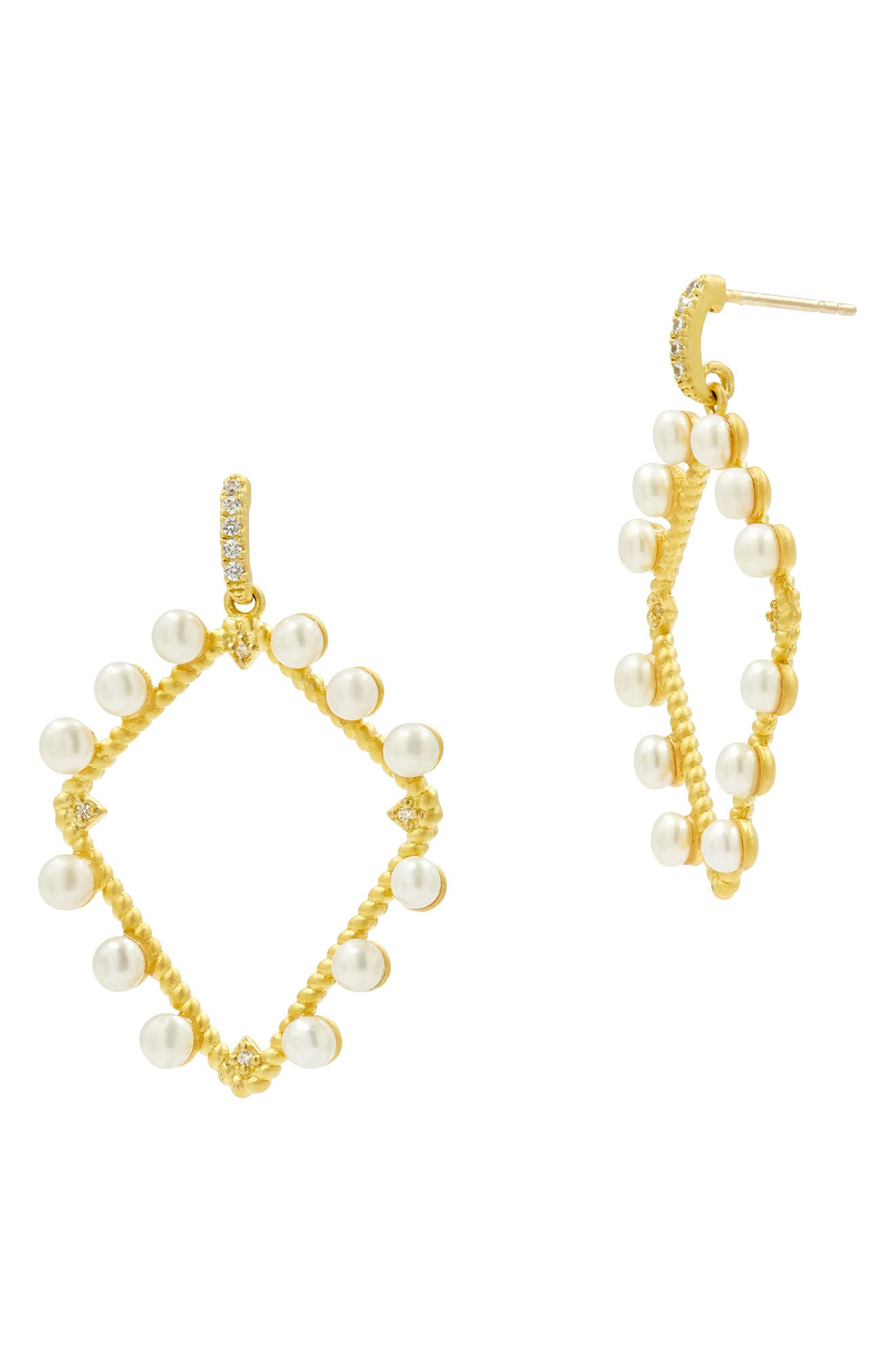 Textured Open Frame Drop Earrings,                             Main thumbnail 1, color,                             PEARL/ GOLD