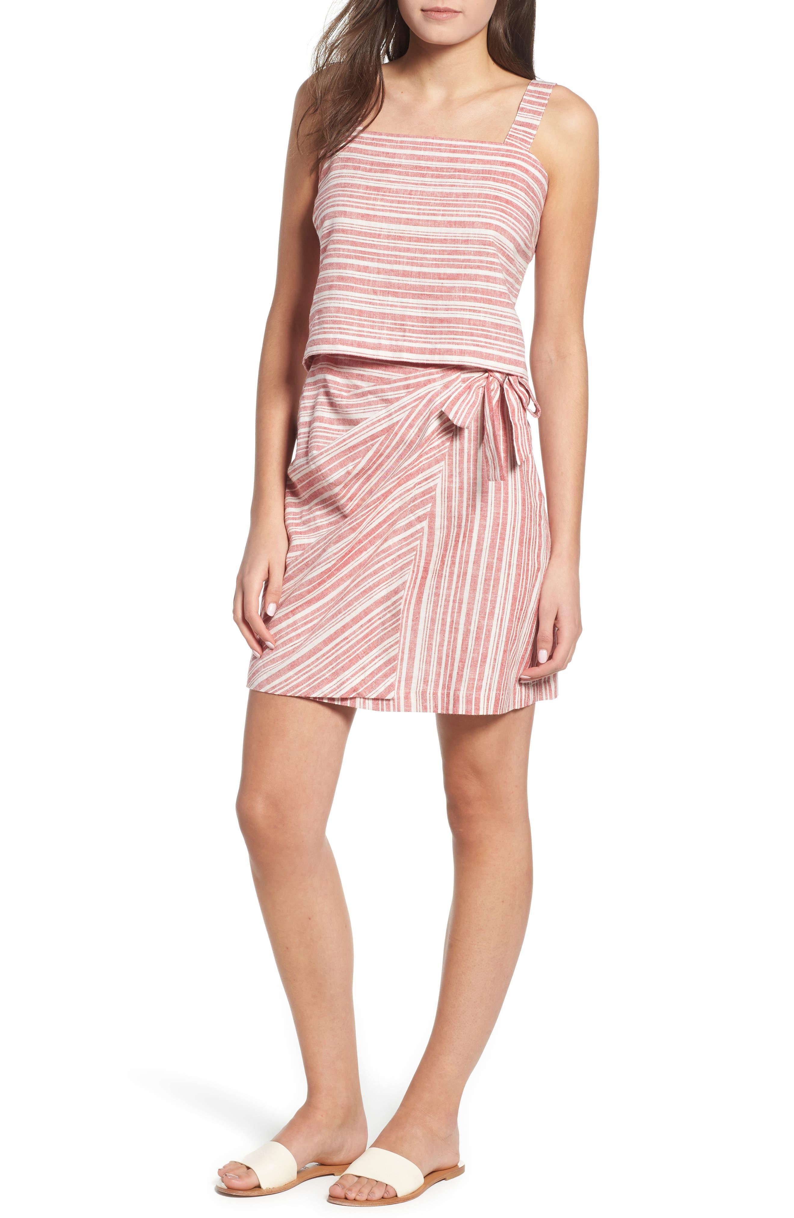 Stripe Linen Blend Wrap Skirt,                             Alternate thumbnail 7, color,                             610