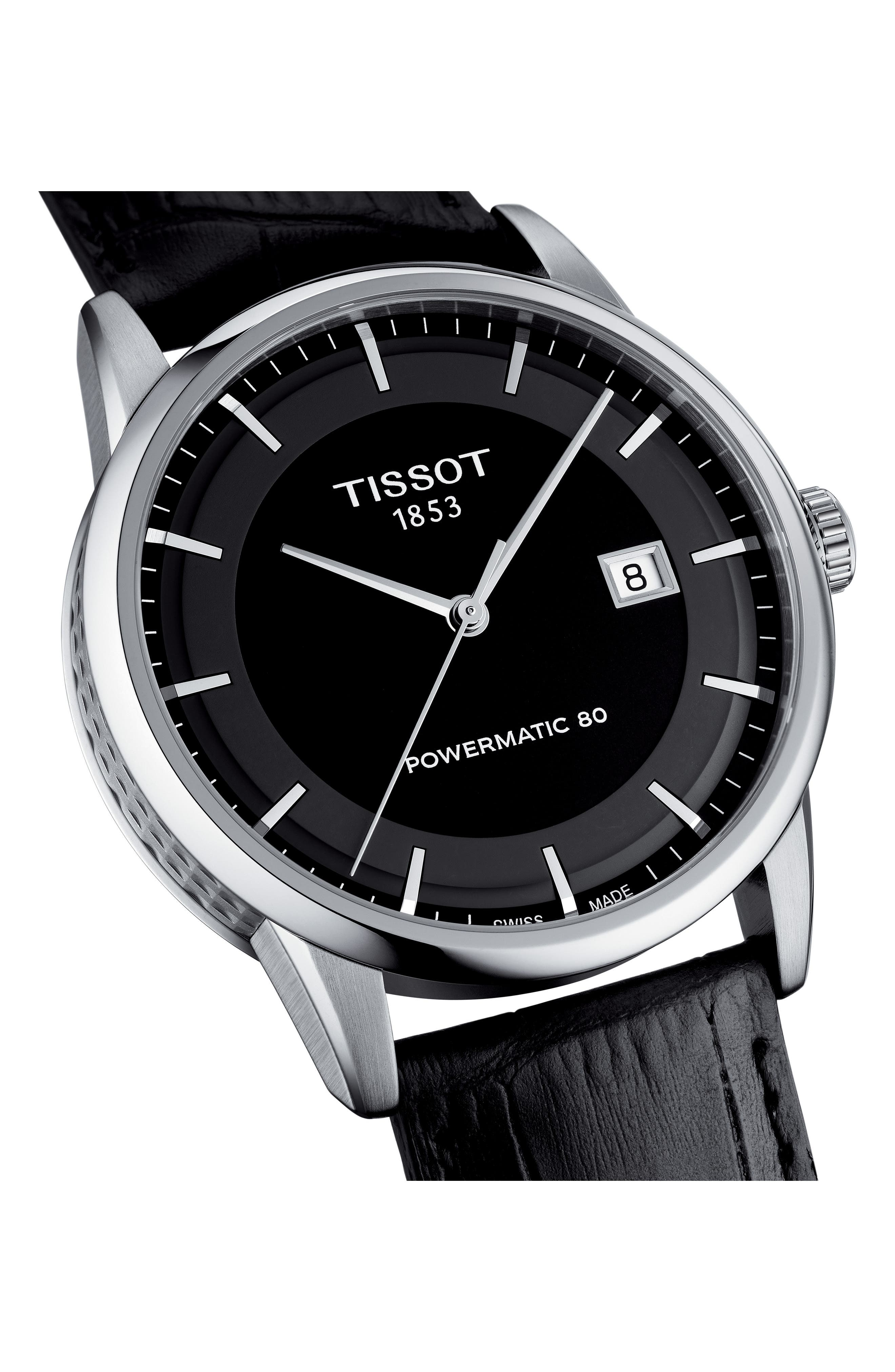 Luxury GTS Automatic Leather Strap Watch, 41mm,                             Alternate thumbnail 2, color,                             BLACK/ SILVER