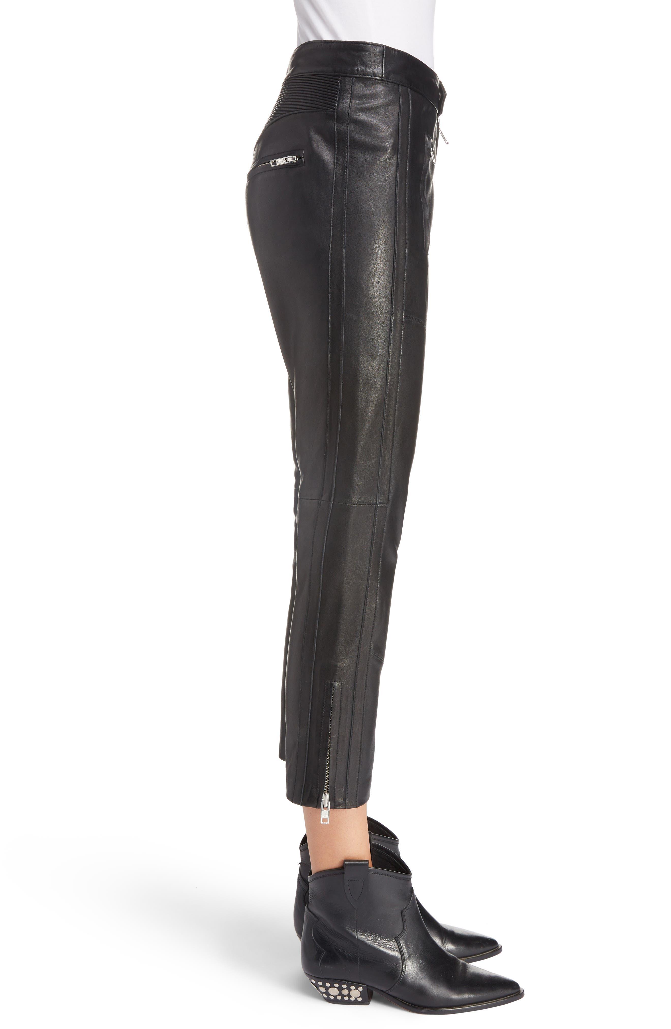 Isabel Marant Étoile Aya Leather Pants,                             Alternate thumbnail 3, color,                             BLACK